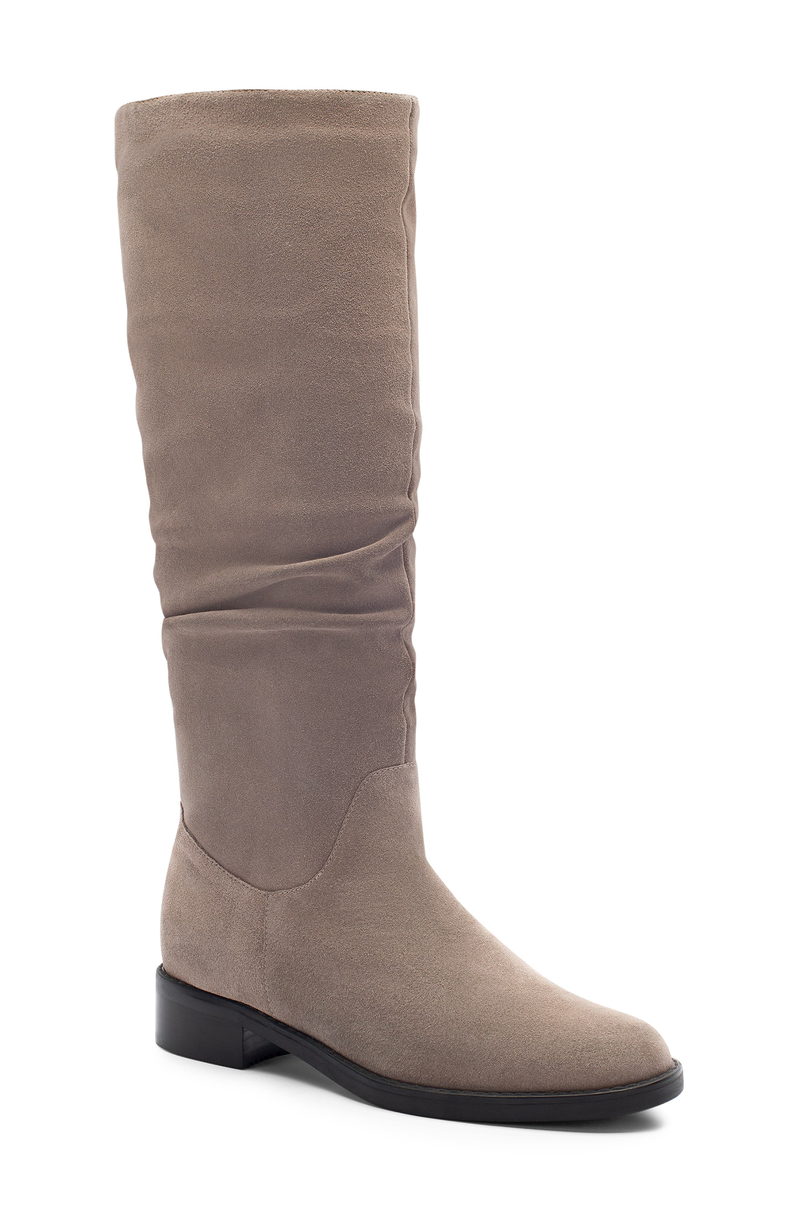 Erika Waterproof Knee High Boot,                             Main thumbnail 1, color,                             DARK TAUPE SUEDE