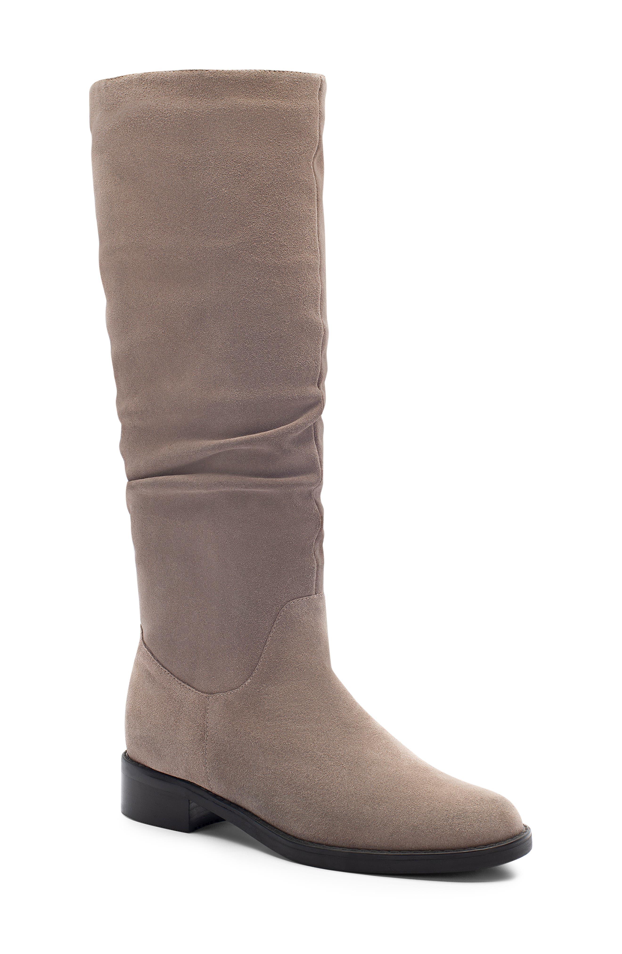 Erika Waterproof Knee High Boot, Main, color, DARK TAUPE SUEDE