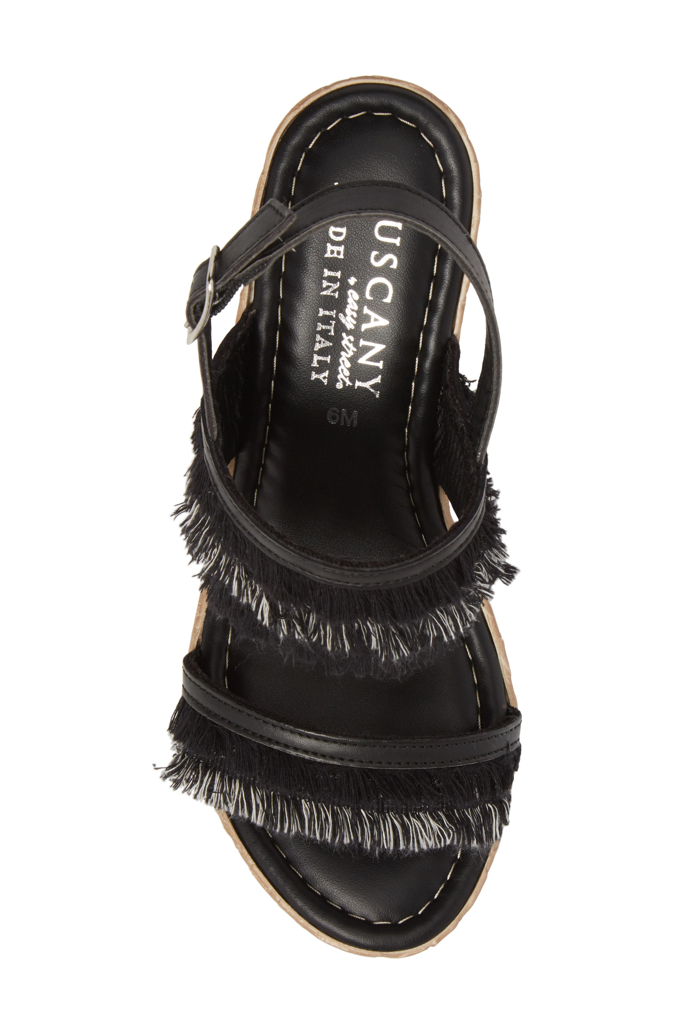 by Easy Street<sup>®</sup> Zaira Wedge Espadrille Sandal,                             Alternate thumbnail 5, color,                             BLACK FAUX LEATHER