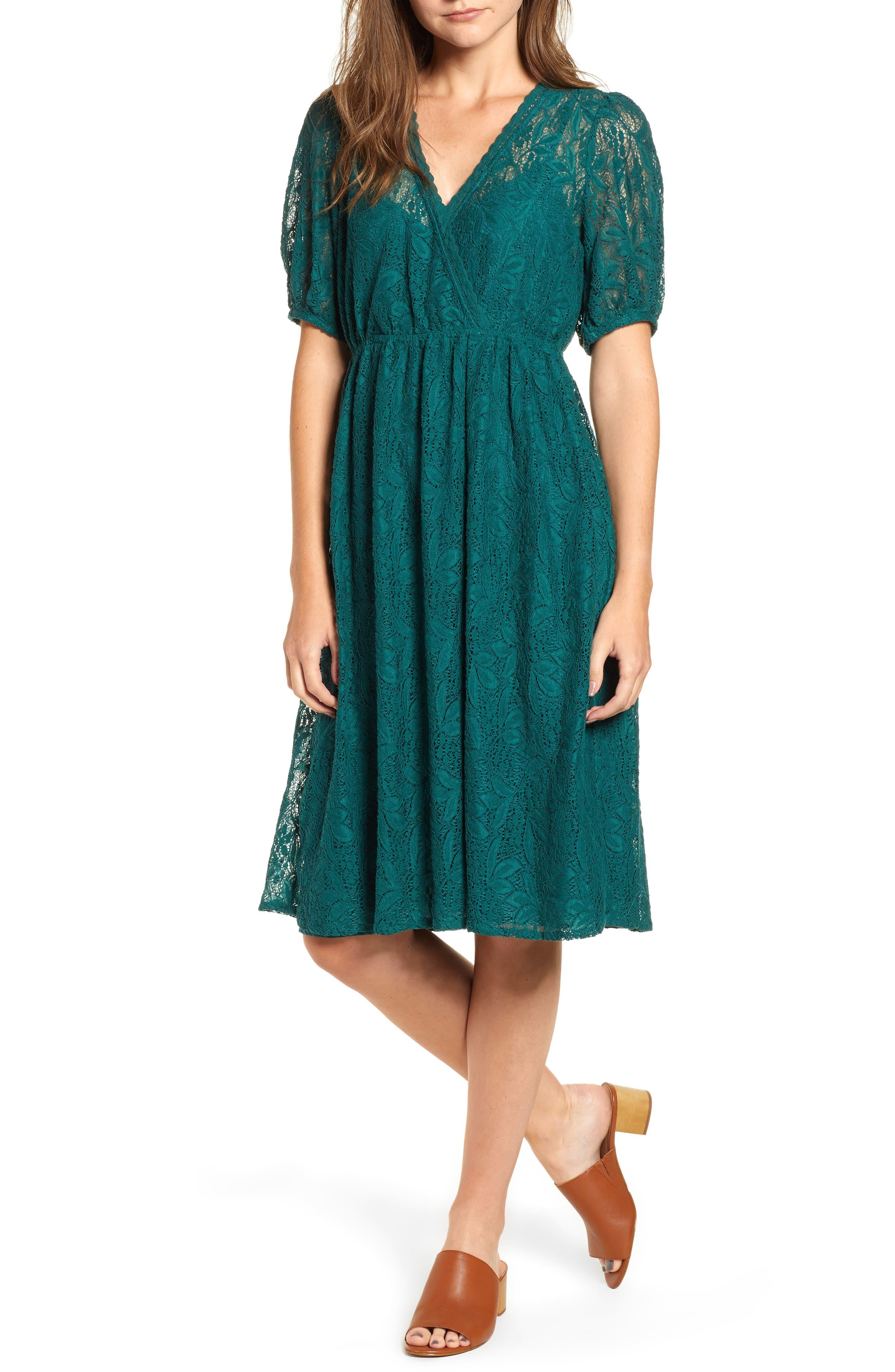 Puff Sleeve Lace Dress,                             Main thumbnail 1, color,                             301