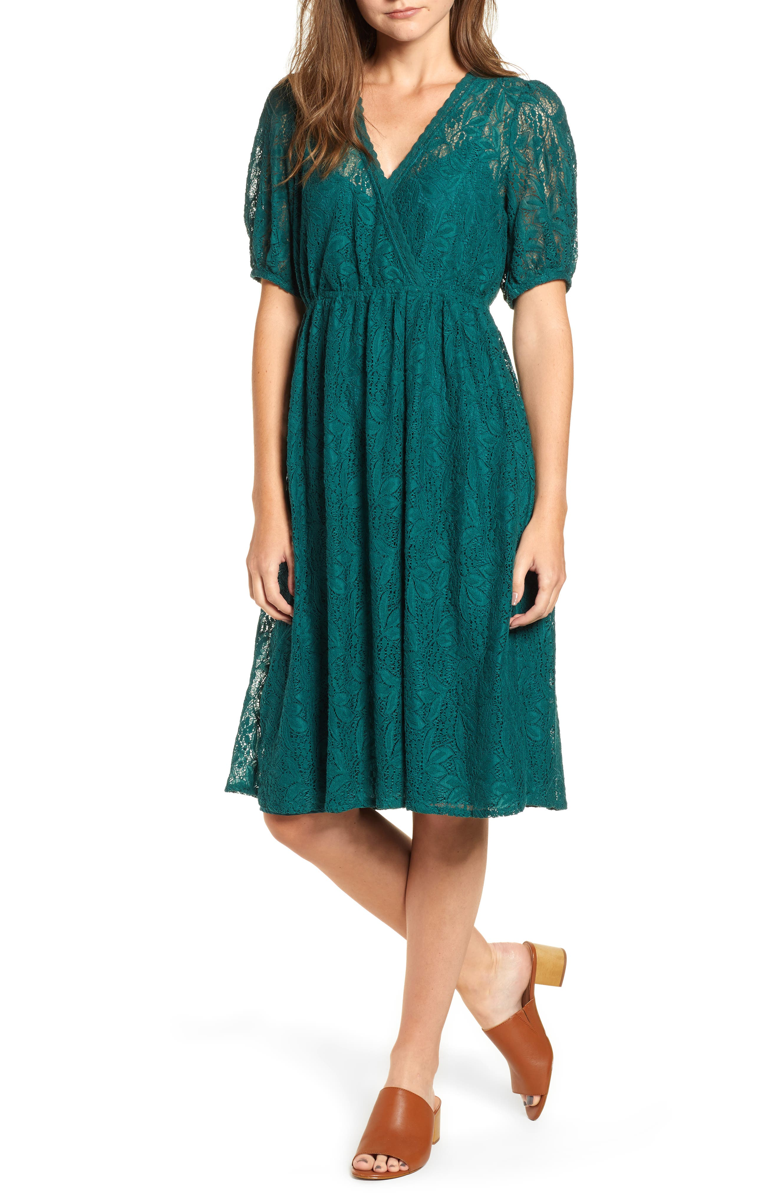 Puff Sleeve Lace Dress,                         Main,                         color, 301