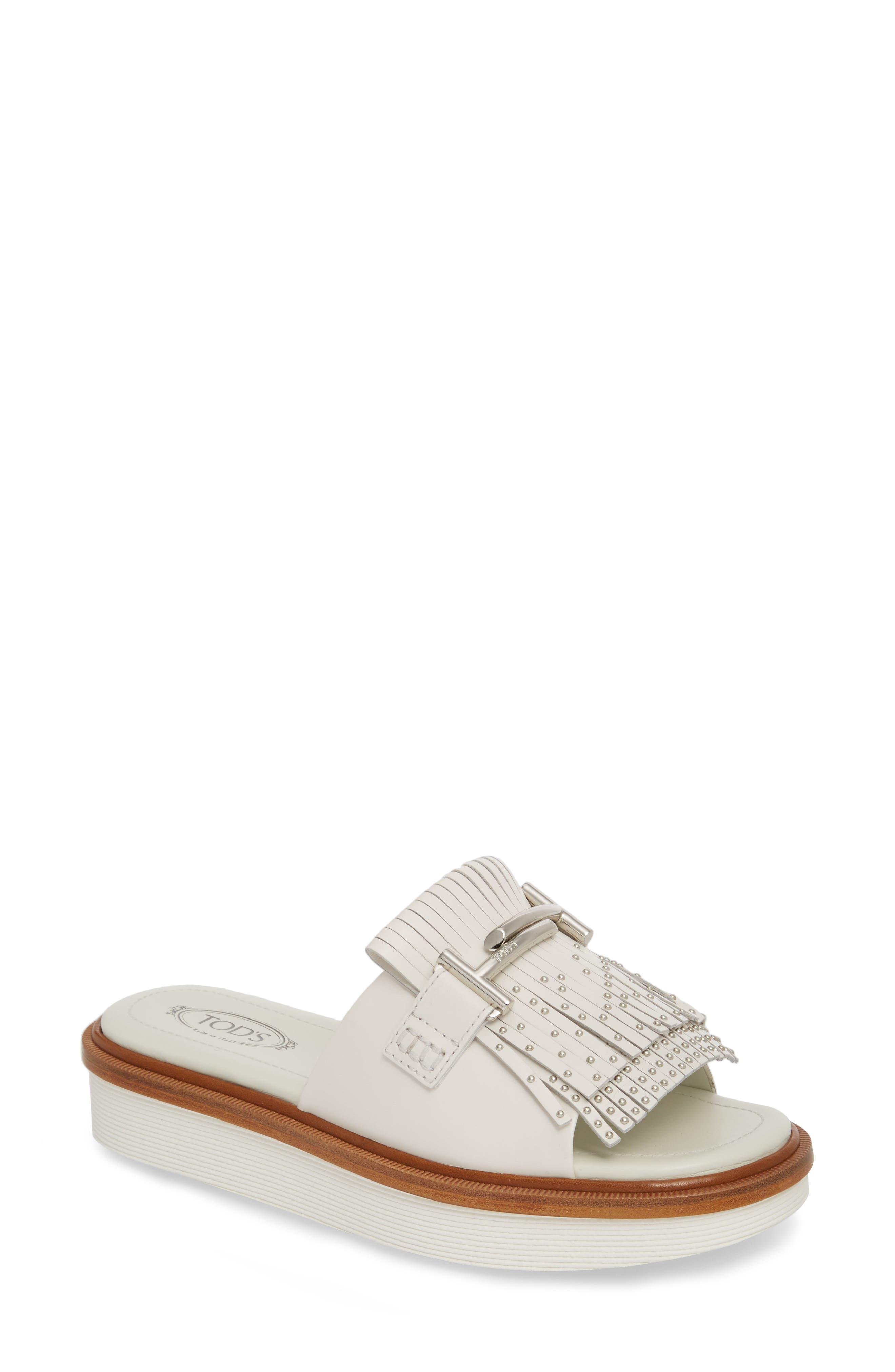 Studded Fringe Slide Sandal,                             Main thumbnail 2, color,