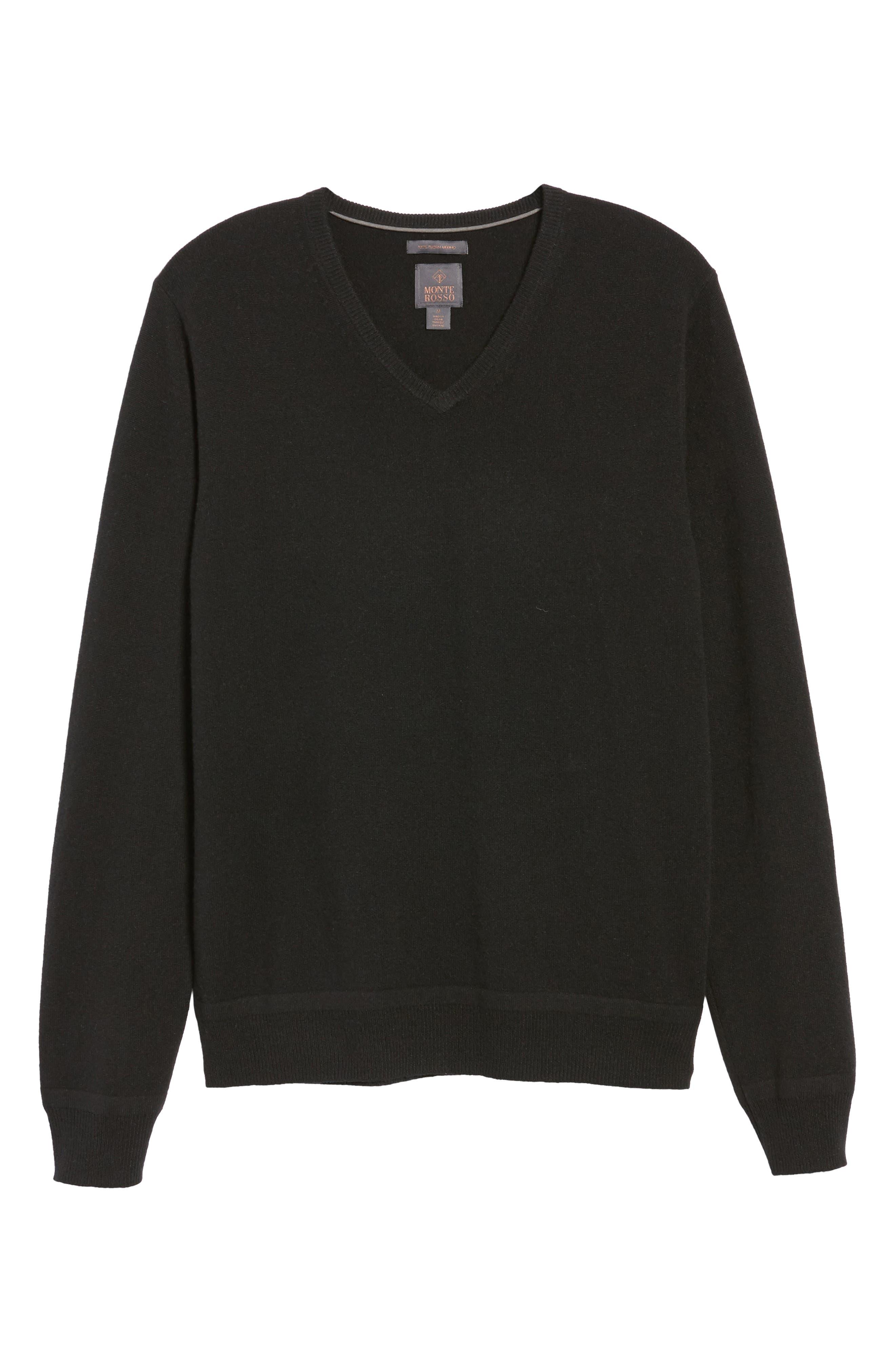V-Neck Cashmere Sweater,                             Alternate thumbnail 6, color,                             001