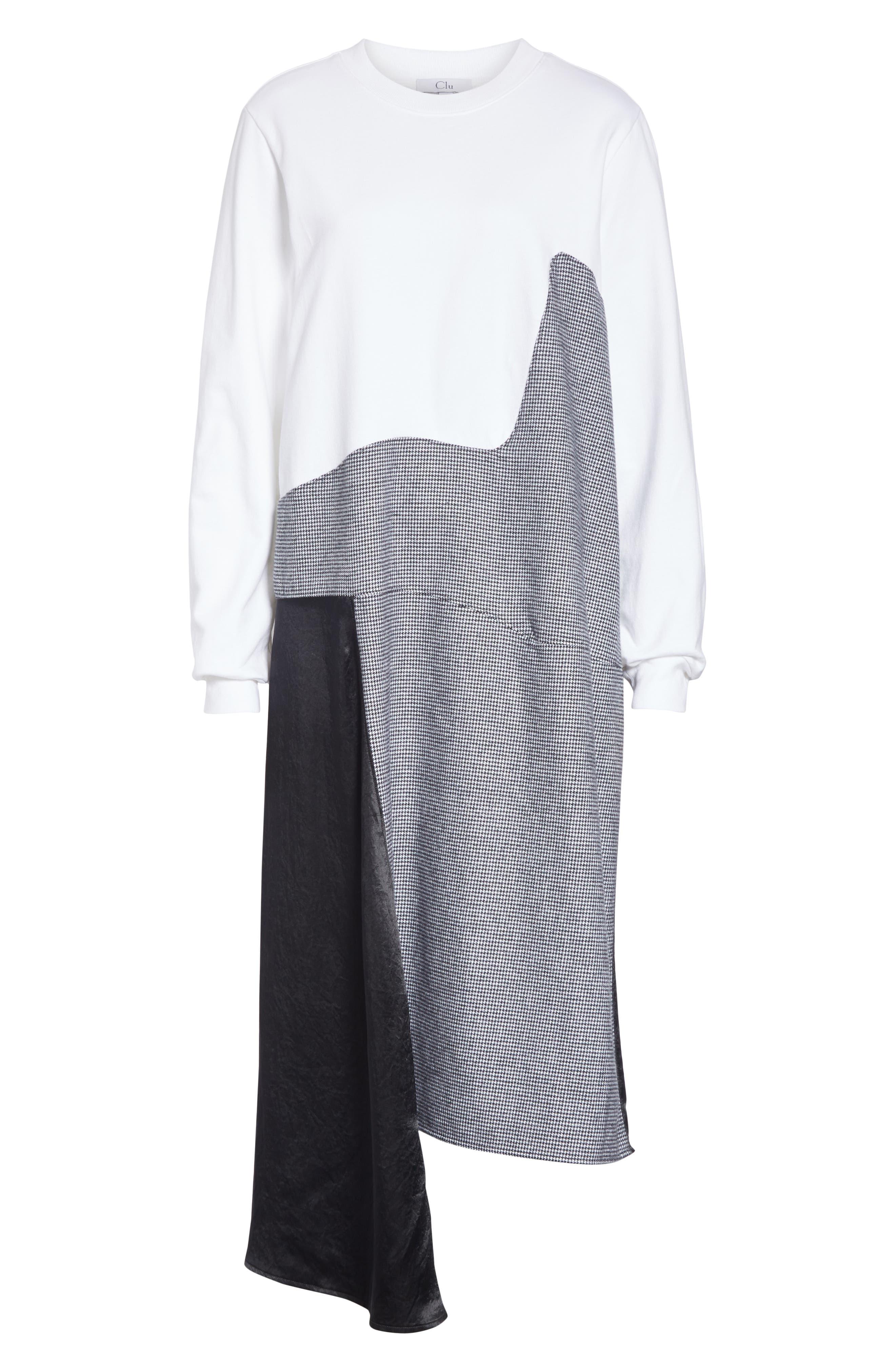 Colorblock Asymmetric Dress,                             Alternate thumbnail 7, color,                             WHITE/ BLACK