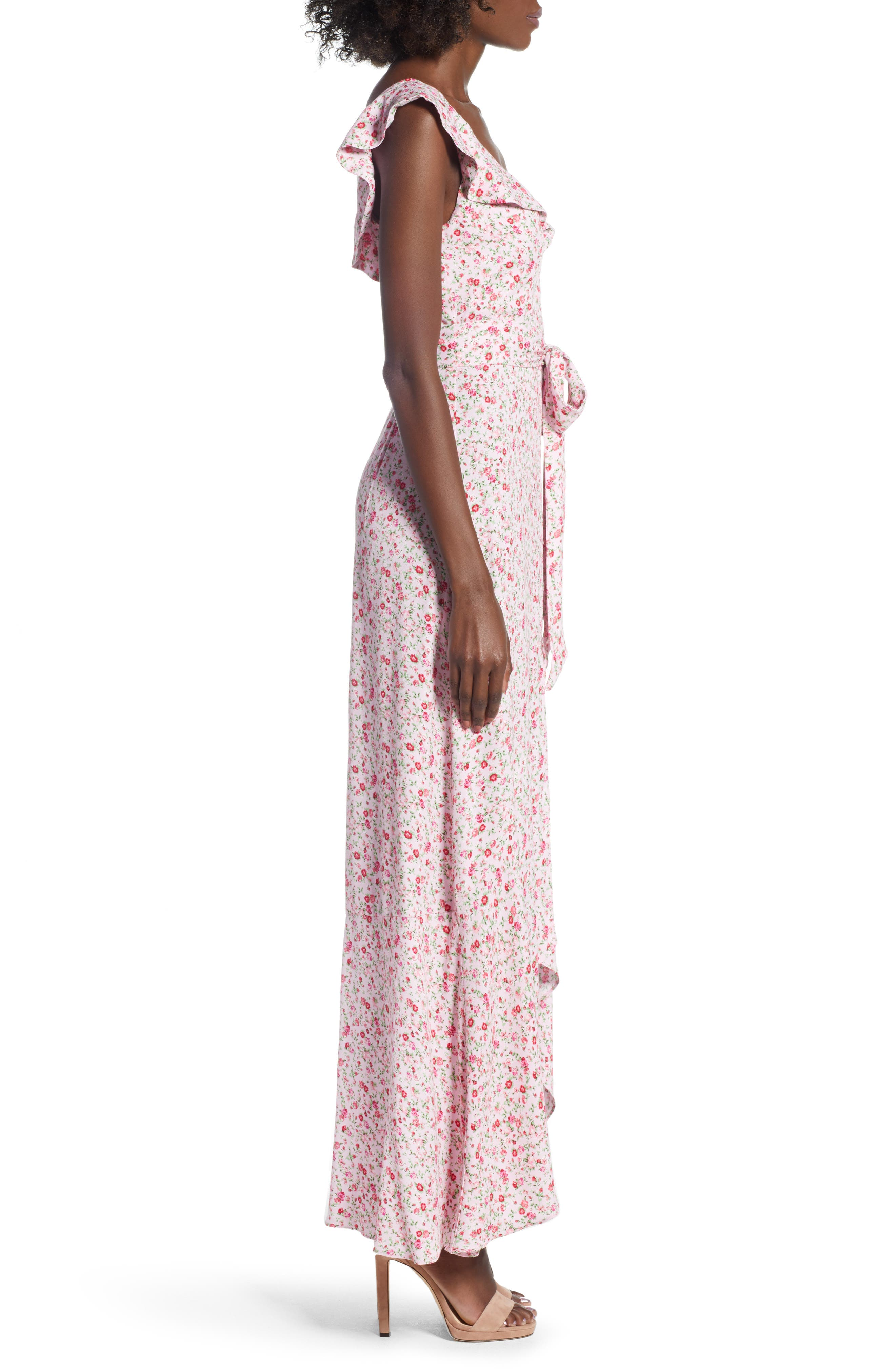 Lucie Maxi Dress,                             Alternate thumbnail 3, color,                             BABY PINK DITSY