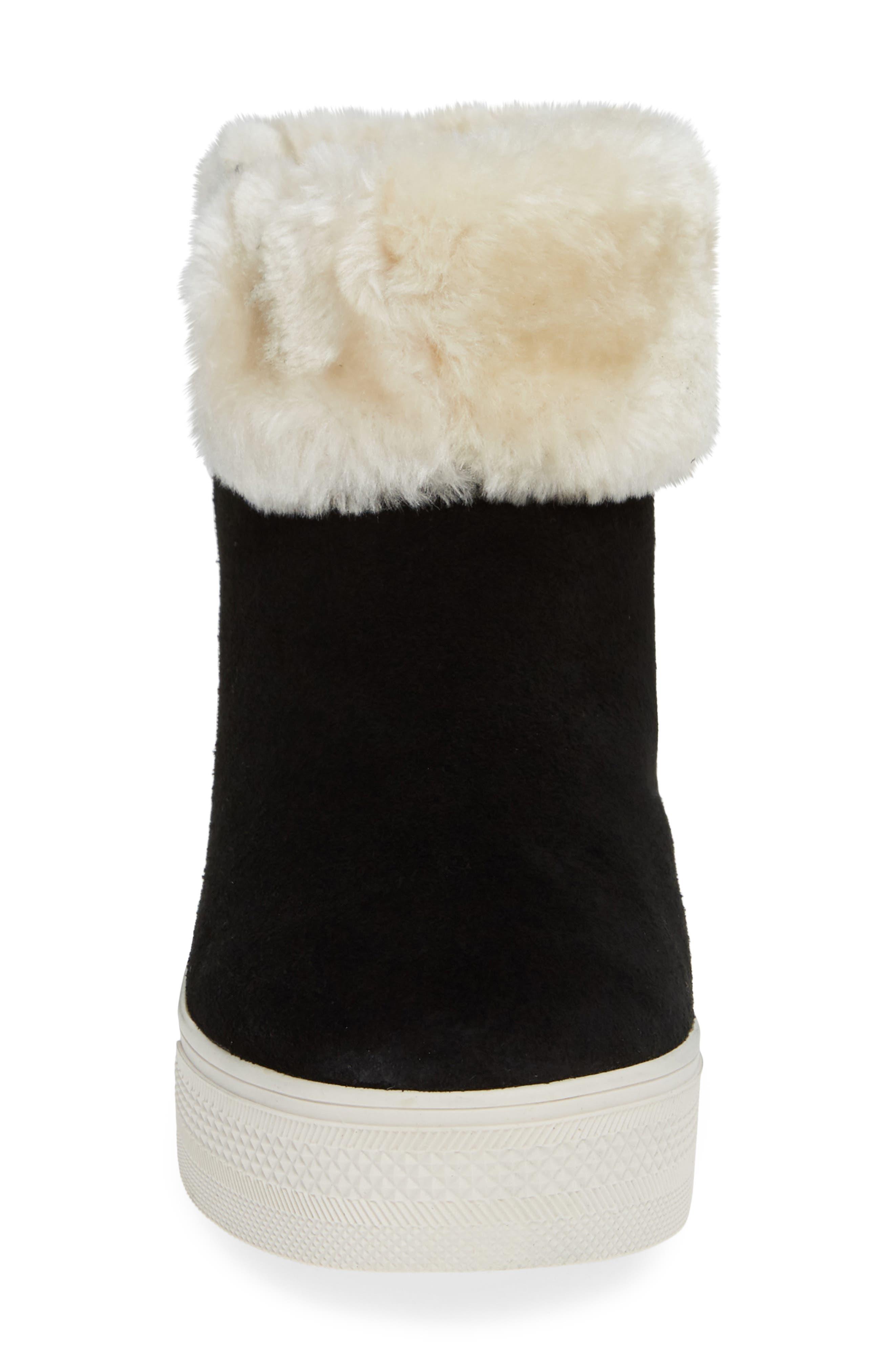 STEVE MADDEN,                             Faux Fur Lined Sneaker,                             Alternate thumbnail 4, color,                             006