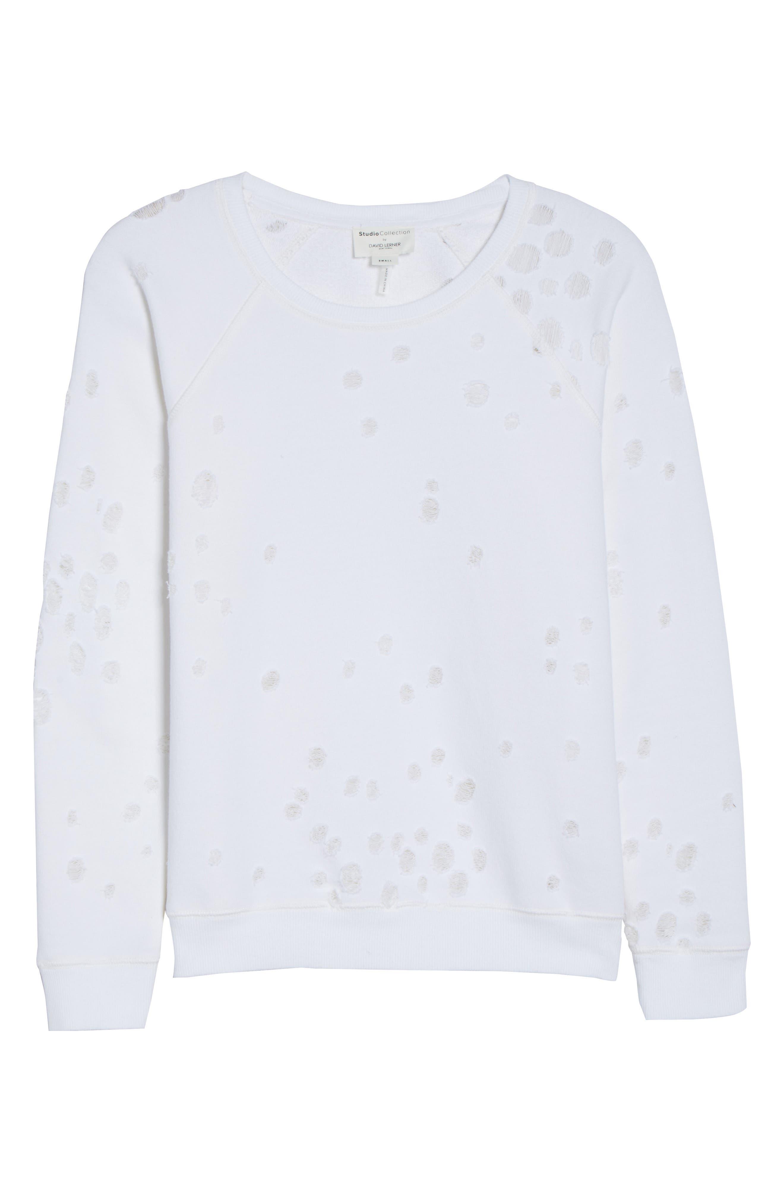 Distressed Lounge Sweatshirt,                             Alternate thumbnail 6, color,                             WHITE