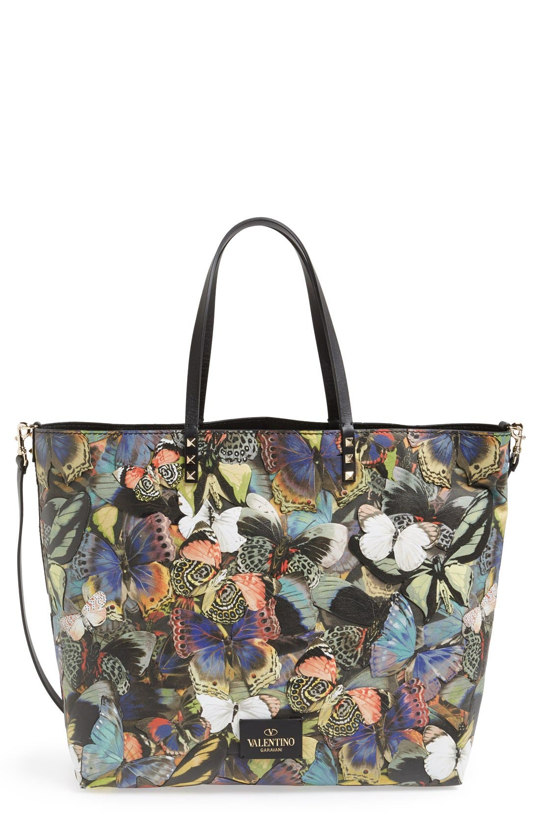 'Camu Butterfly' Leather Tote, Main, color, 300