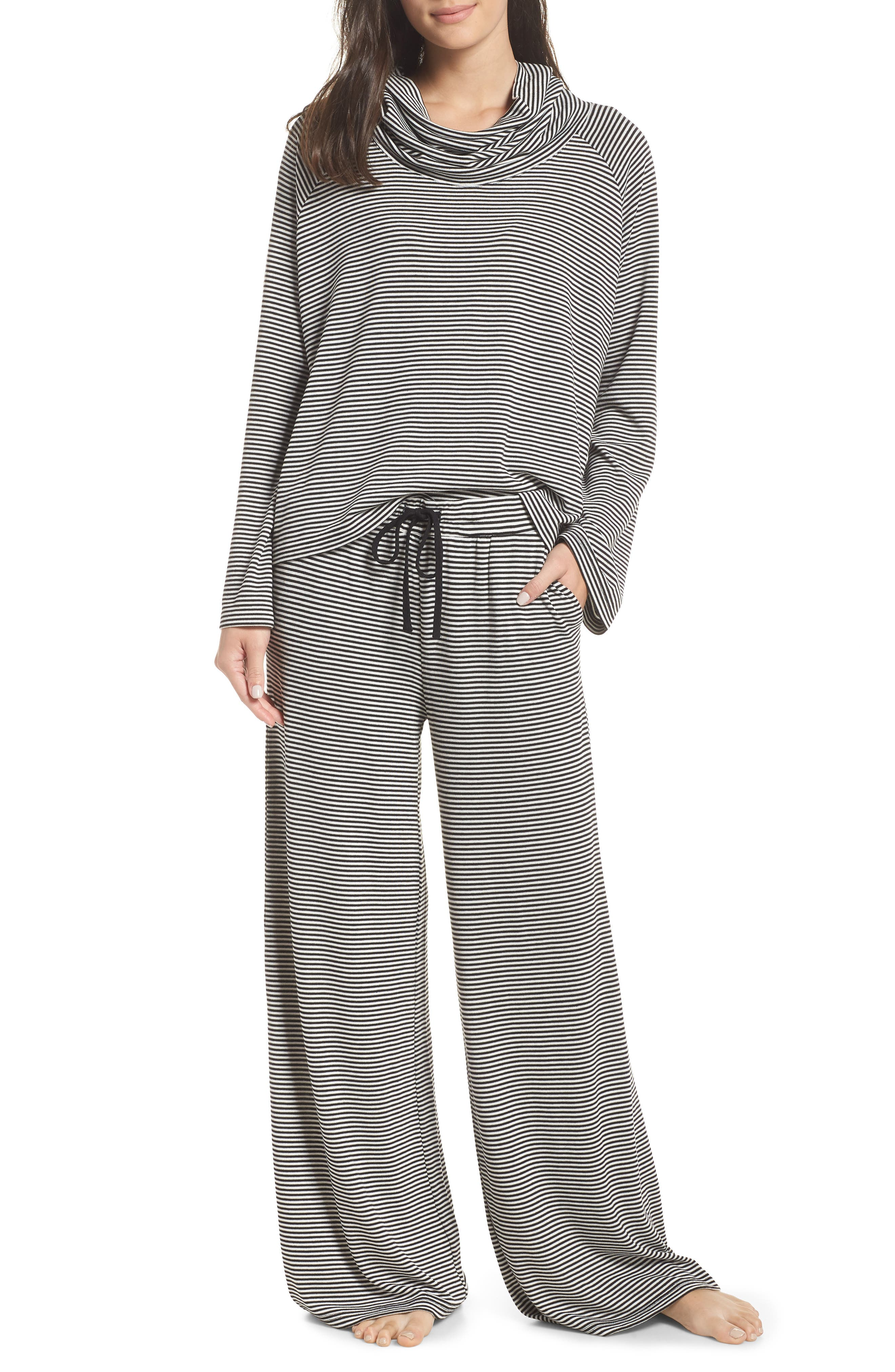 Easy Tiger Cowl Pajama Top,                             Alternate thumbnail 7, color,                             BLACK
