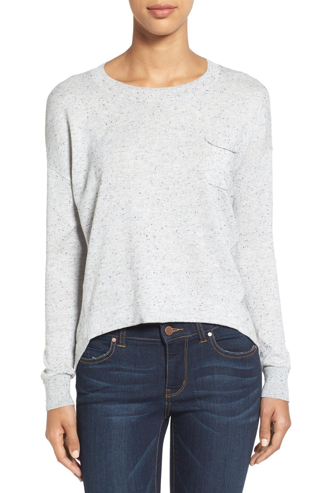 Pleat Back High/Low Crewneck Sweater,                             Main thumbnail 3, color,