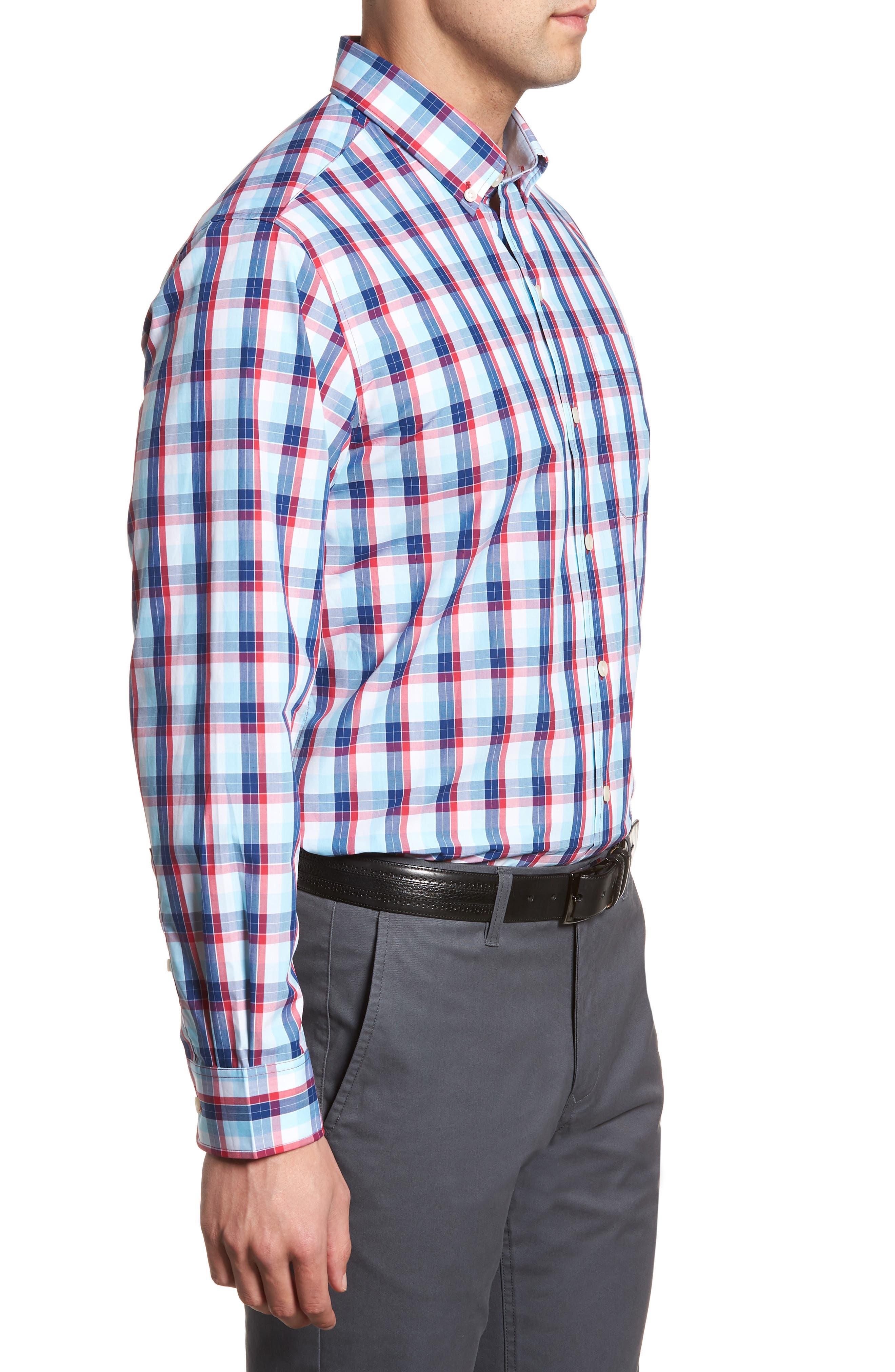 Zachary Non-Iron Plaid Sport Shirt,                             Alternate thumbnail 3, color,                             479