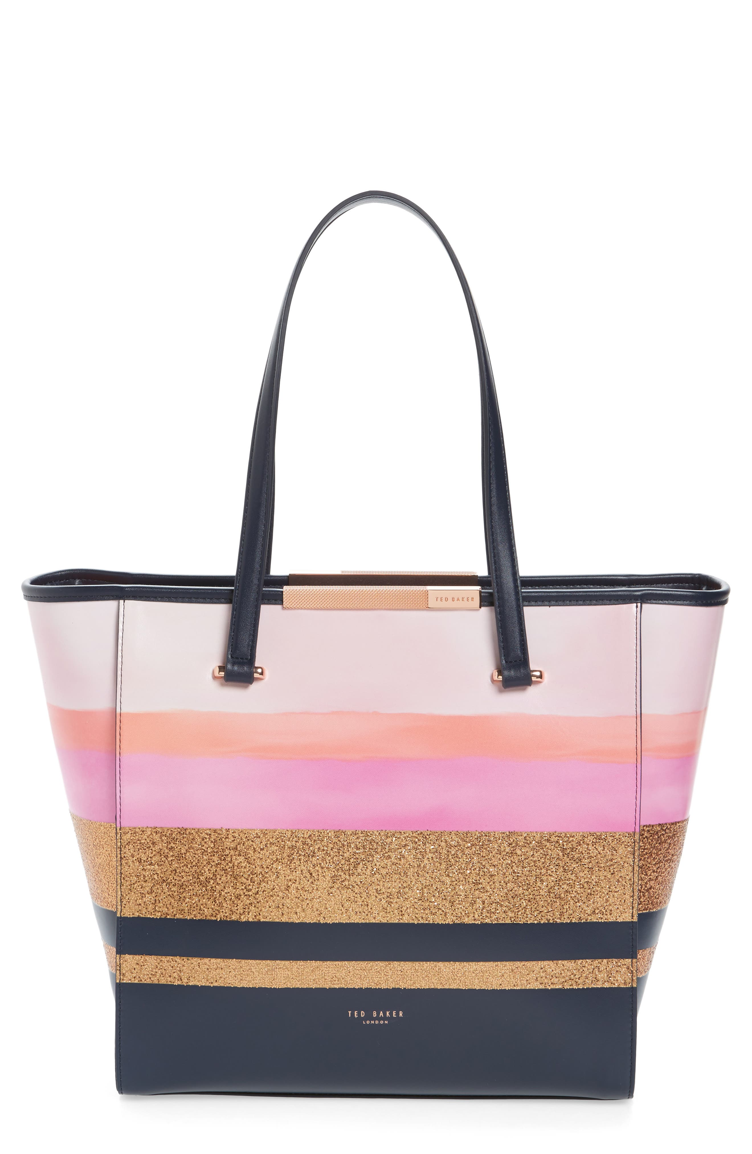 Large Glitter Stripe Shopper,                         Main,                         color, 410