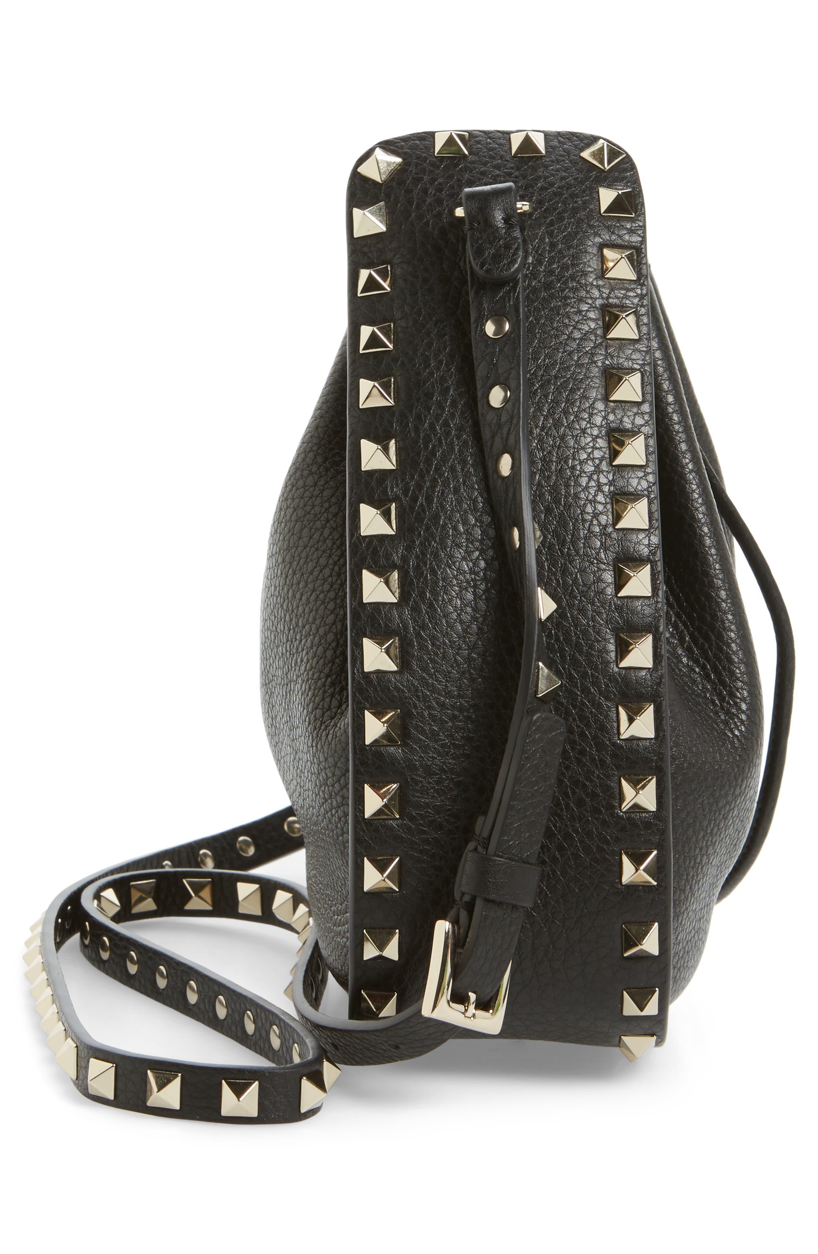 Rockstud Leather Bucket Bag,                             Alternate thumbnail 5, color,                             001