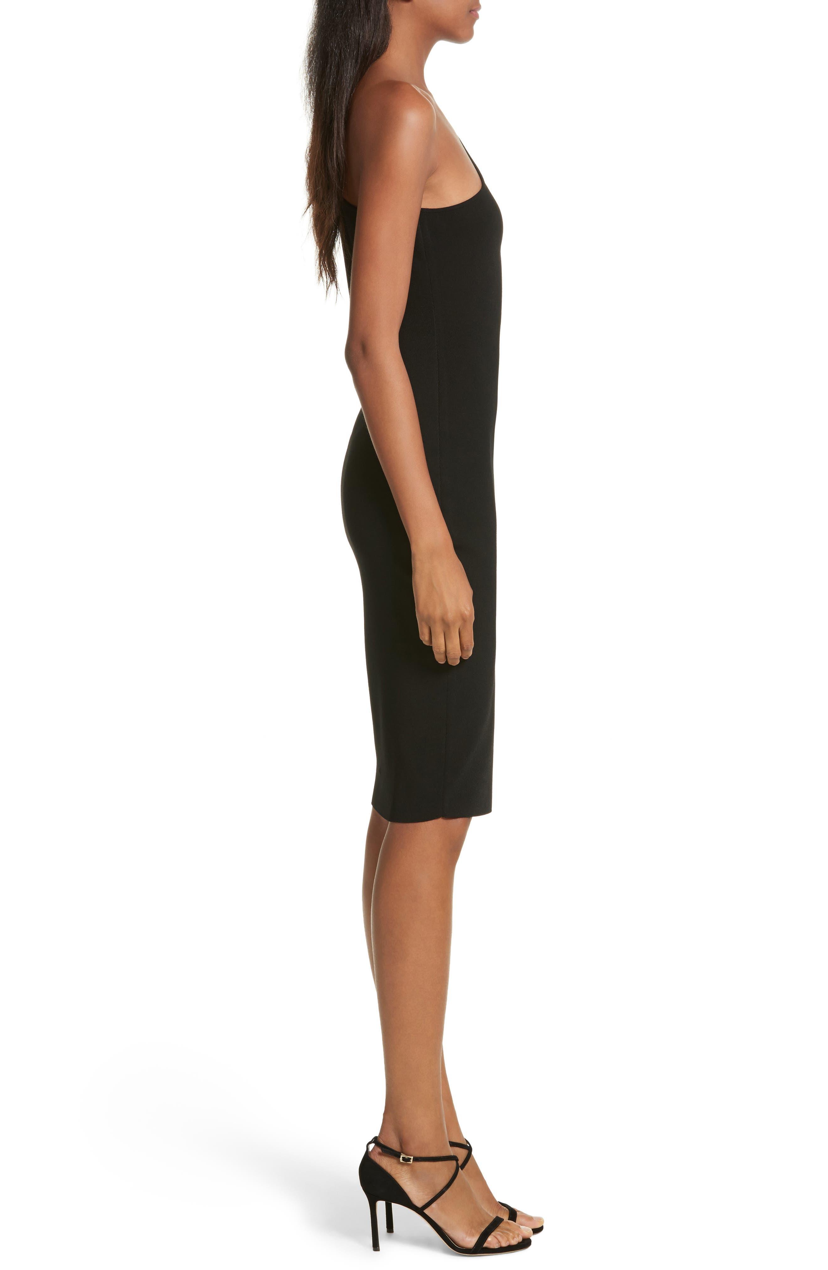Sliced One-Shoulder Sheath Dress,                             Alternate thumbnail 3, color,                             001