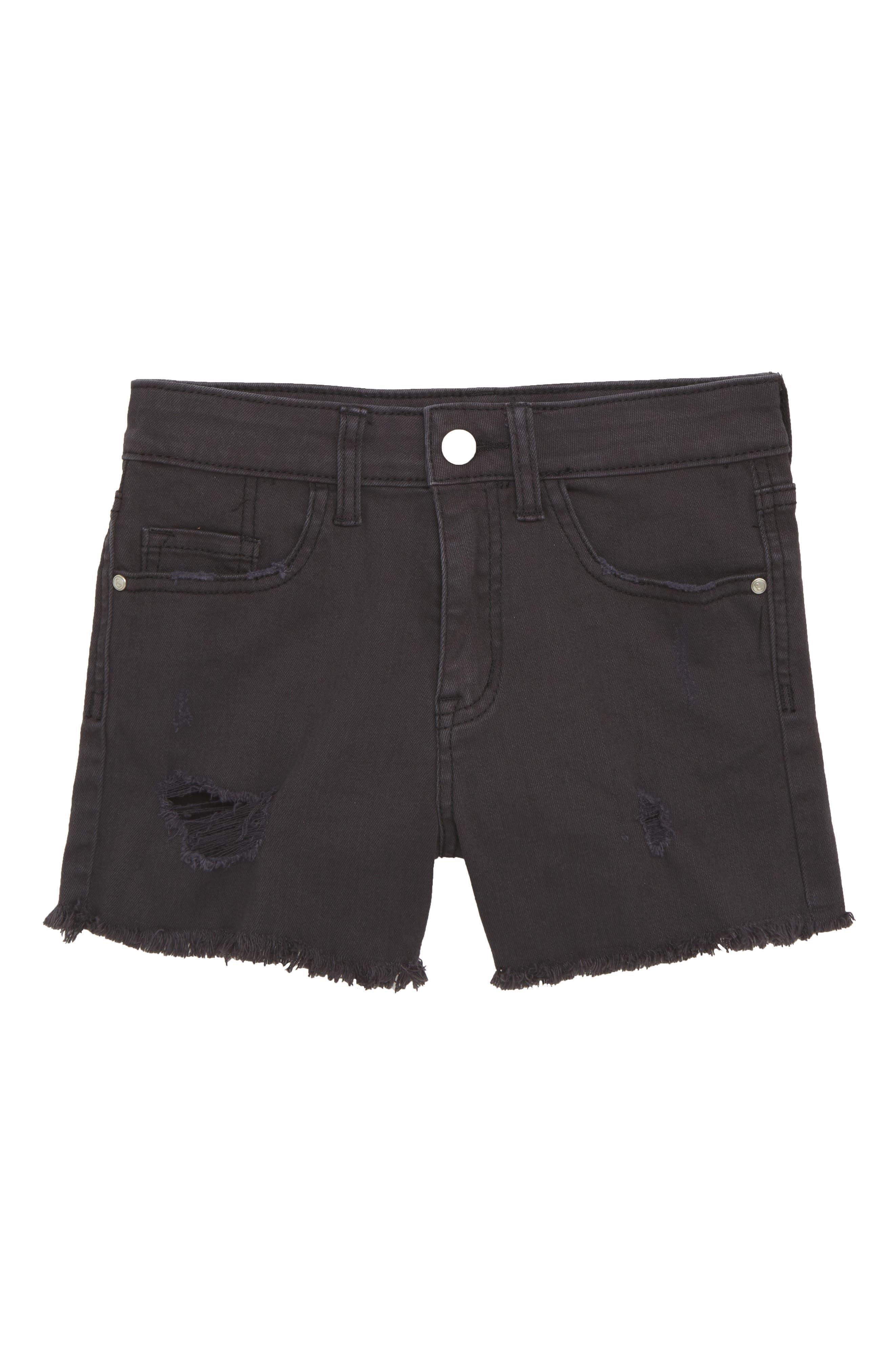 Distressed Cutoff Denim Shorts,                             Main thumbnail 1, color,                             BLACK