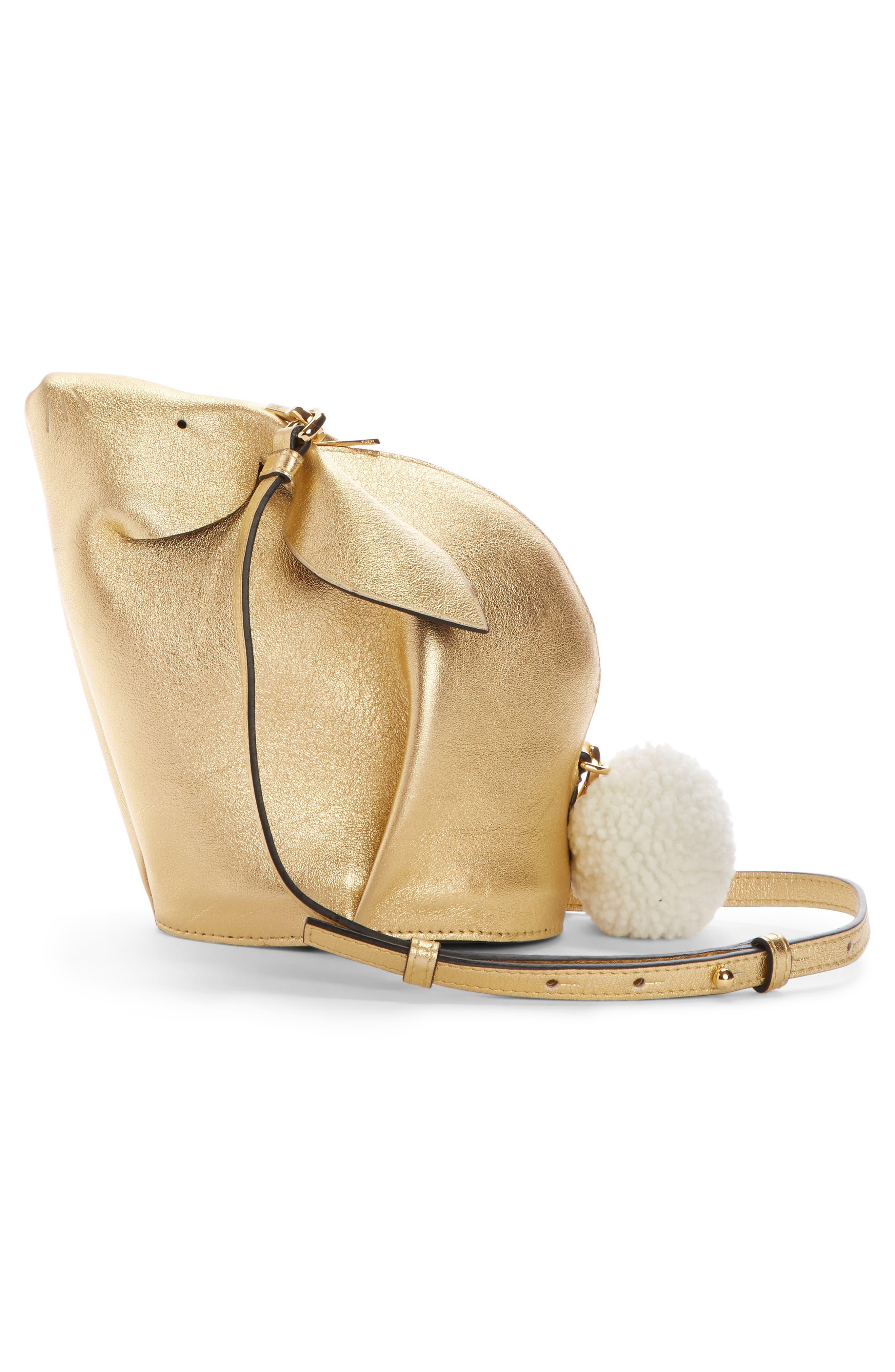 Mini Bunny Metallic Leather Crossbody Bag with Genuine Shearling Trim,                             Alternate thumbnail 2, color,                             710