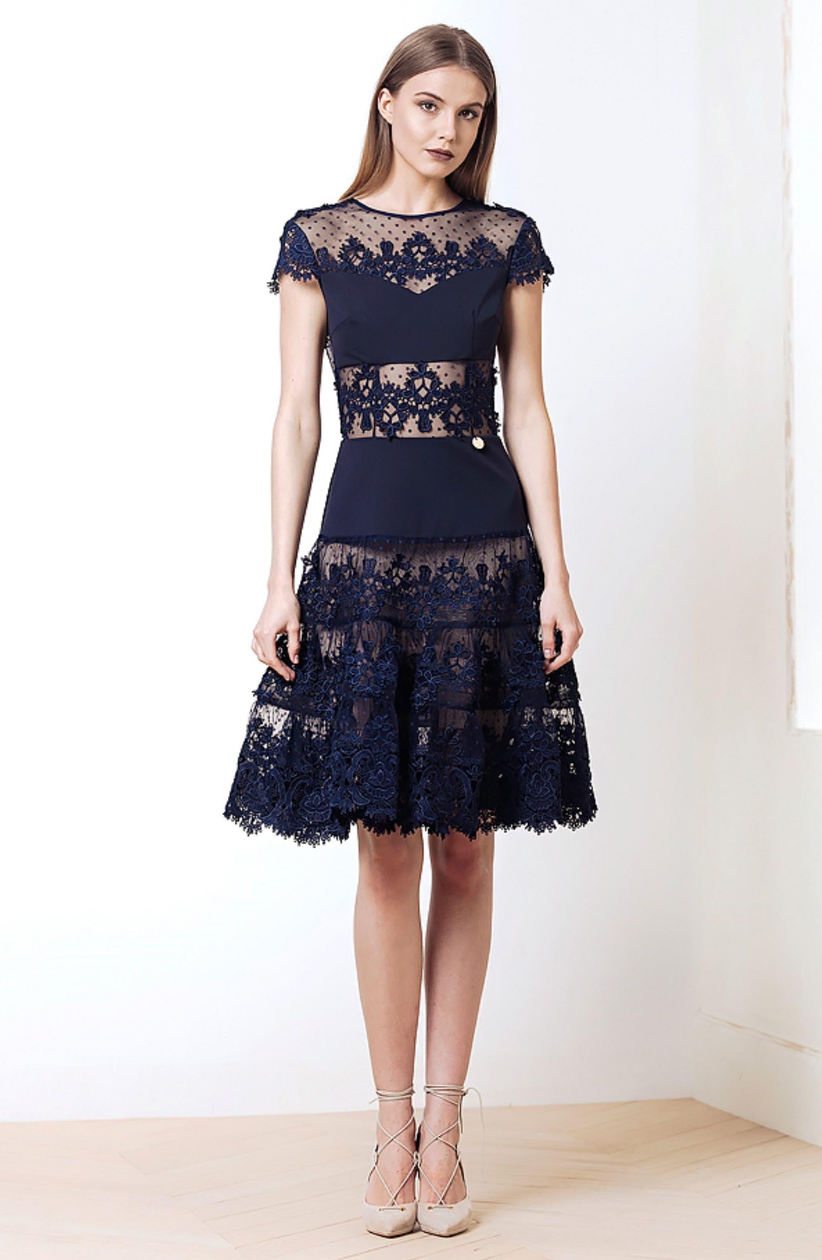Flamenco Lace Inset Fit & Flare Dress,                             Alternate thumbnail 8, color,                             410
