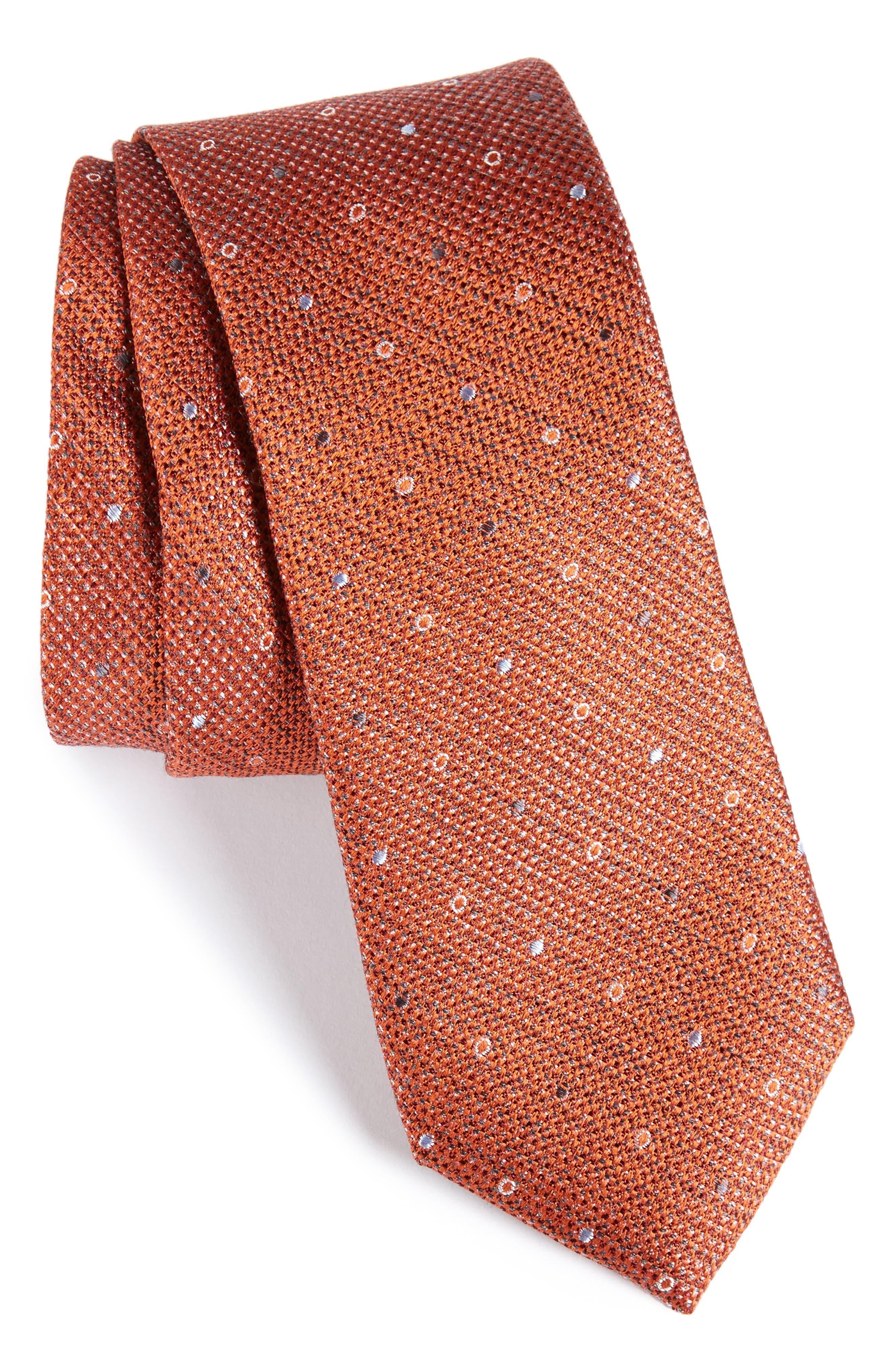 Brubeck Neat Silk Blend Tie,                             Main thumbnail 8, color,