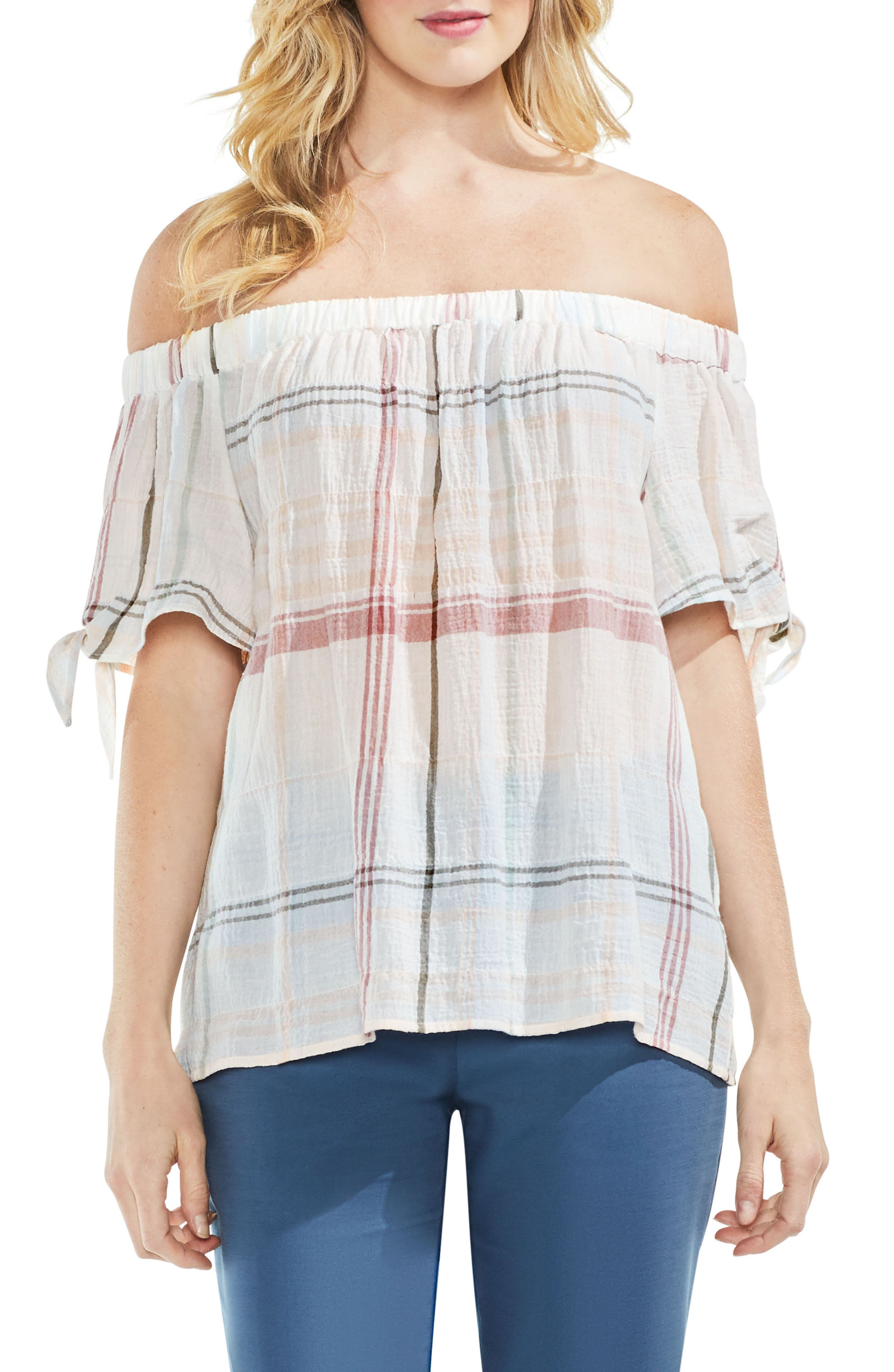 Crinkle Stretch Cotton Off the Shoulder Top,                             Main thumbnail 2, color,