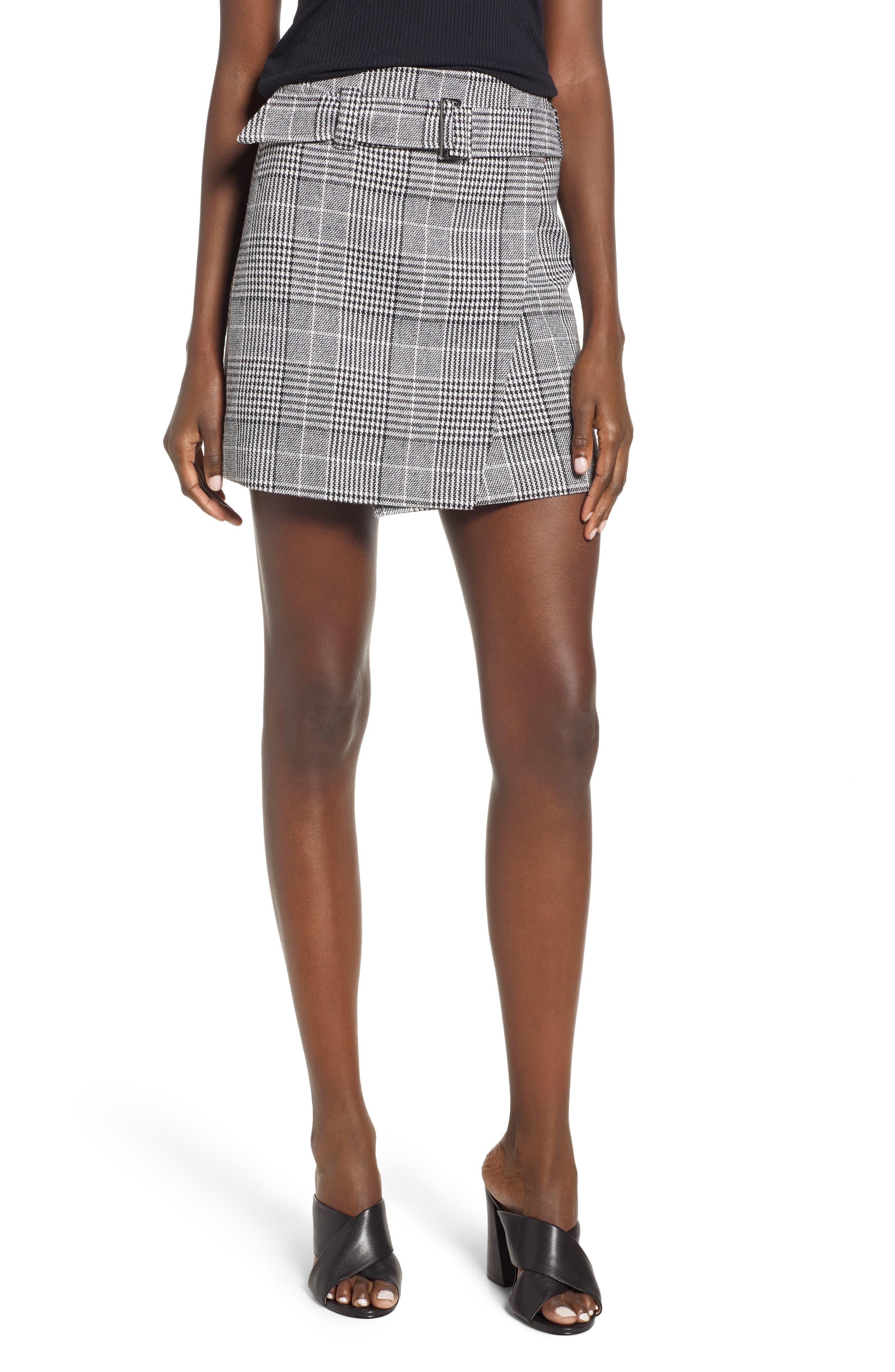Plaid Miniskirt, Main, color, BLACK SHAROL PLAID