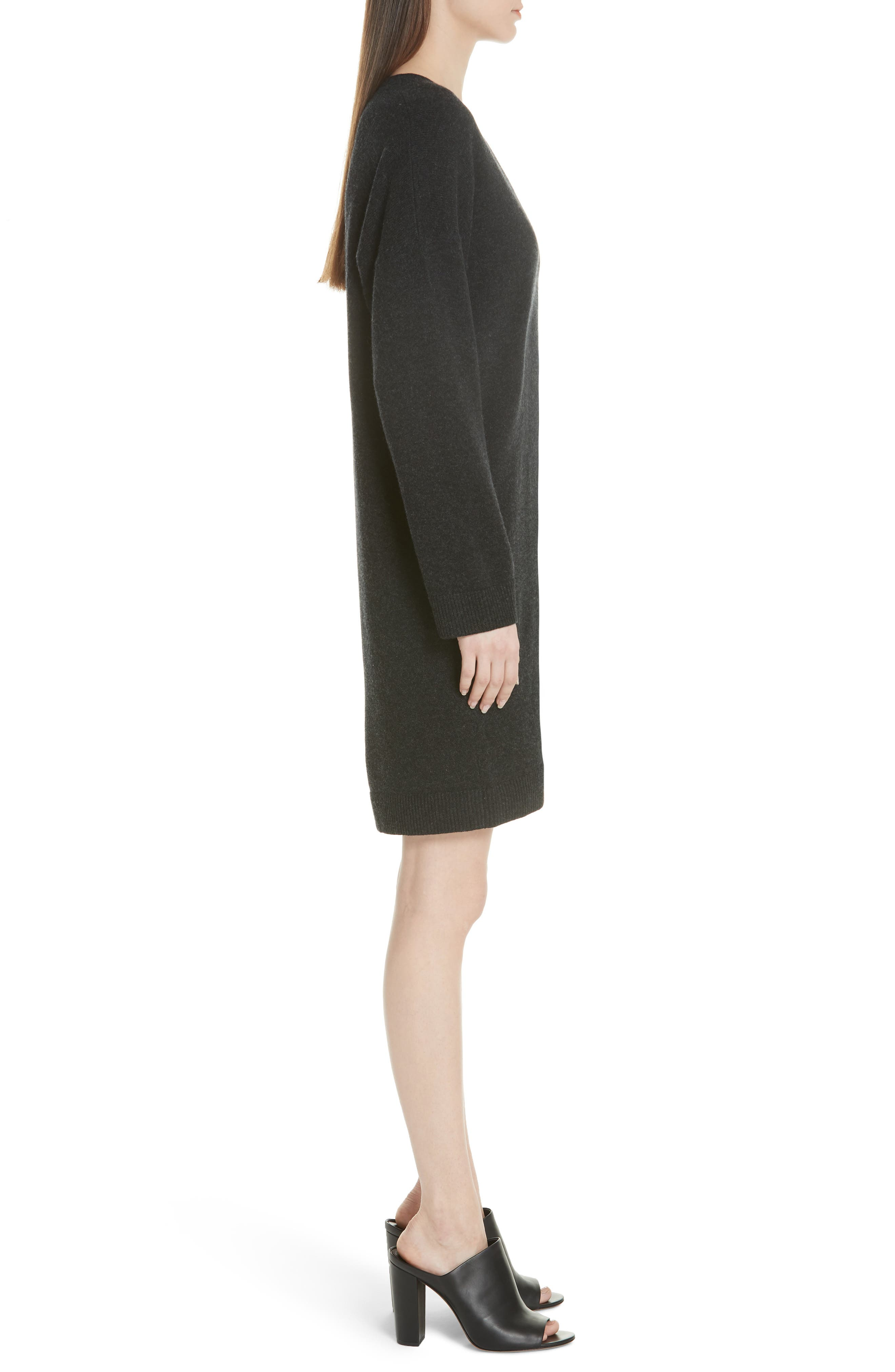 Wool & Cashmere Cocoon Dress,                             Alternate thumbnail 3, color,                             065