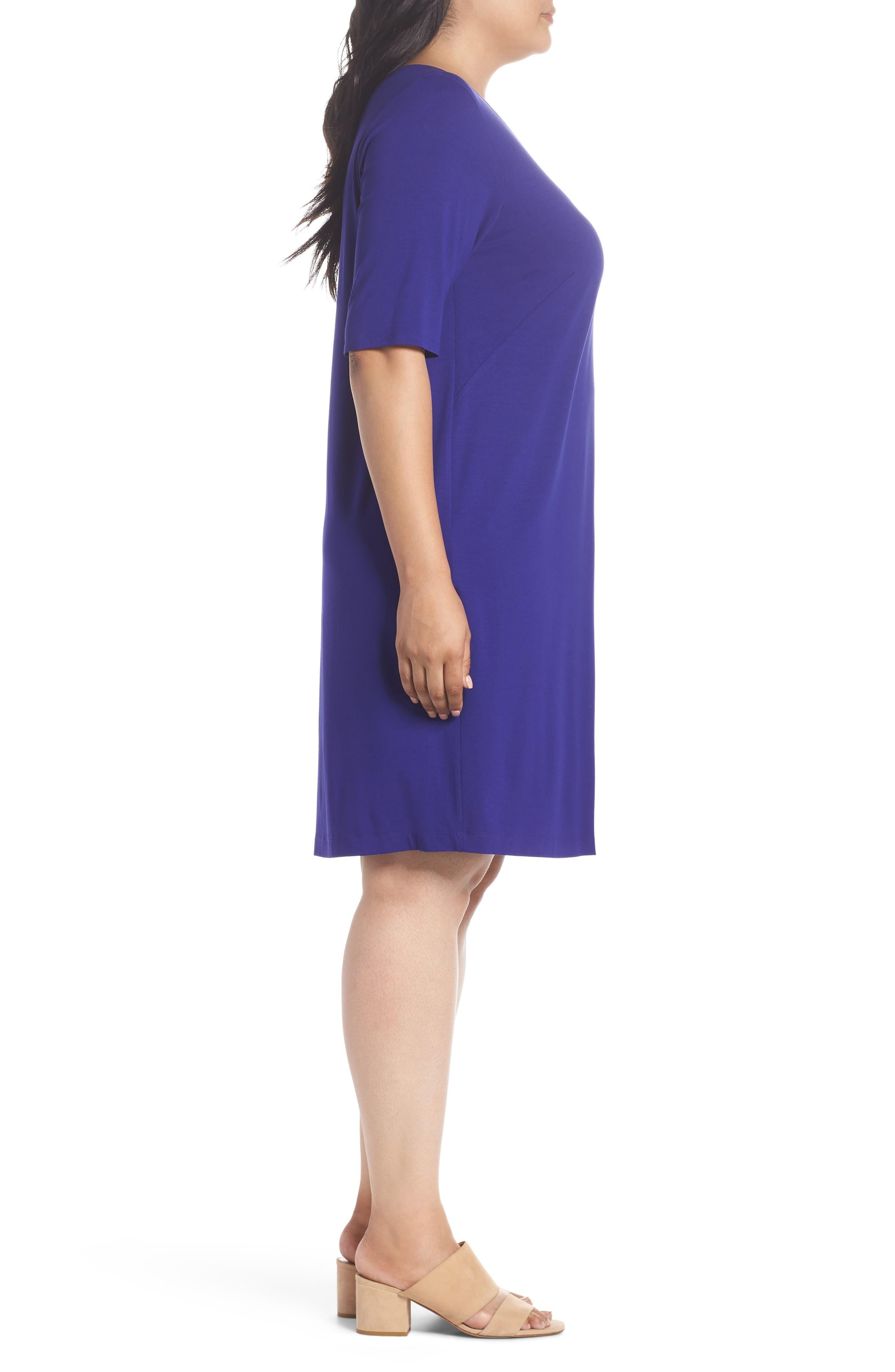 V-Neck Stretch Jersey Shift Dress,                             Alternate thumbnail 14, color,
