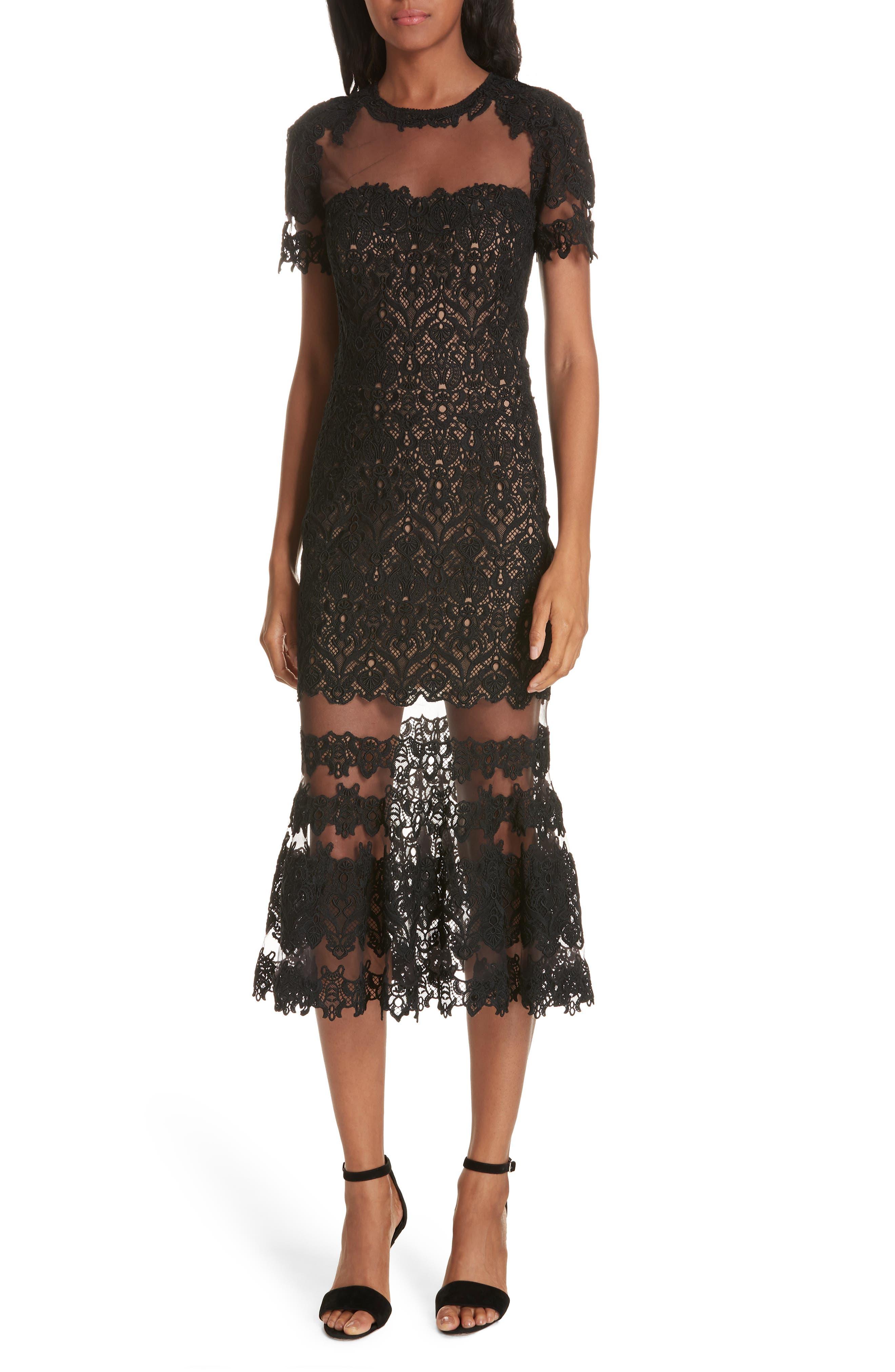 Jonathan Simkhai Guipure Lace Flare Hem Midi Sheath Dress, Black