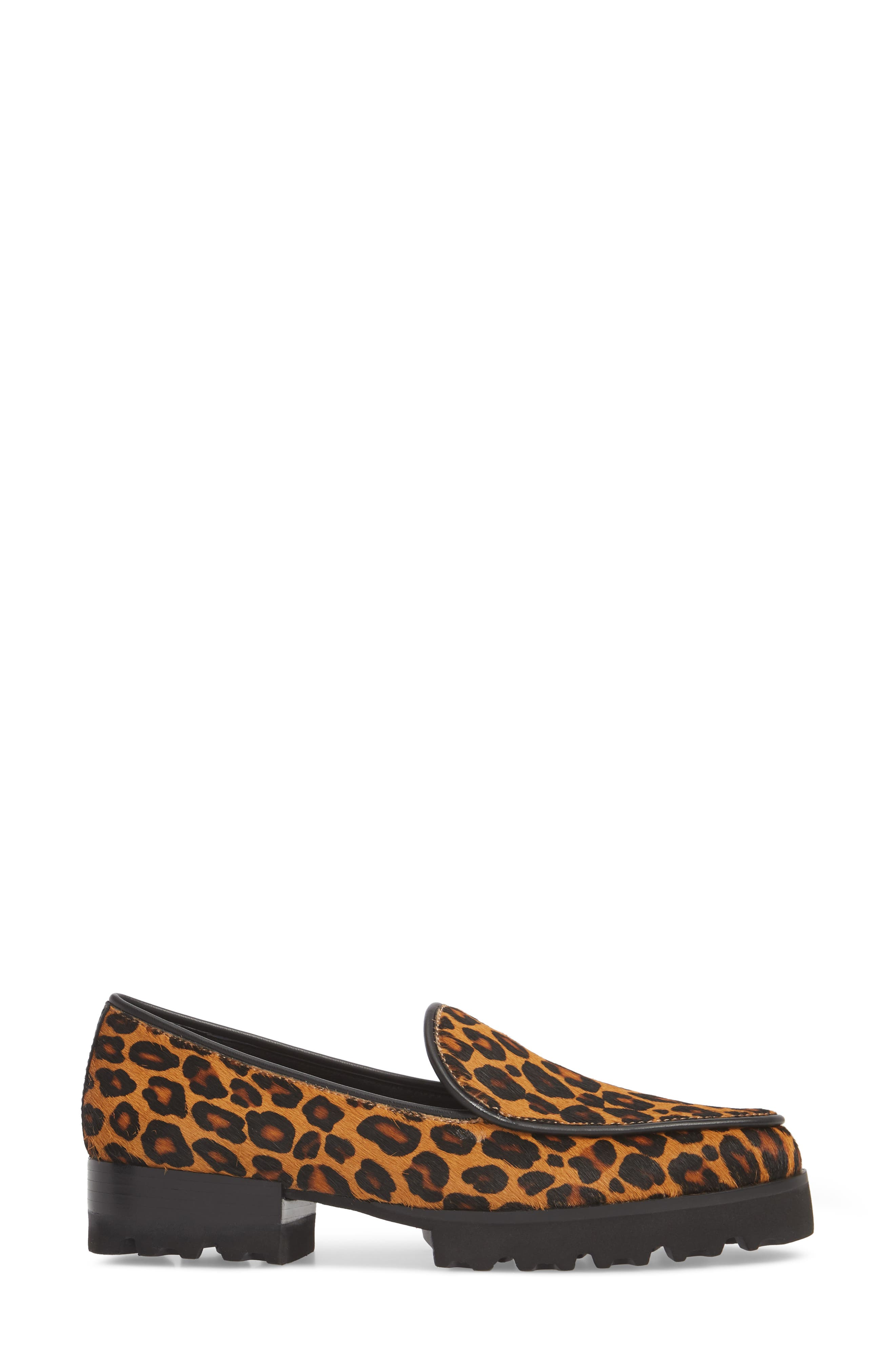 Enza Lug Sole Loafer,                             Alternate thumbnail 3, color,                             LEOPARD PRINT HAIRCALF