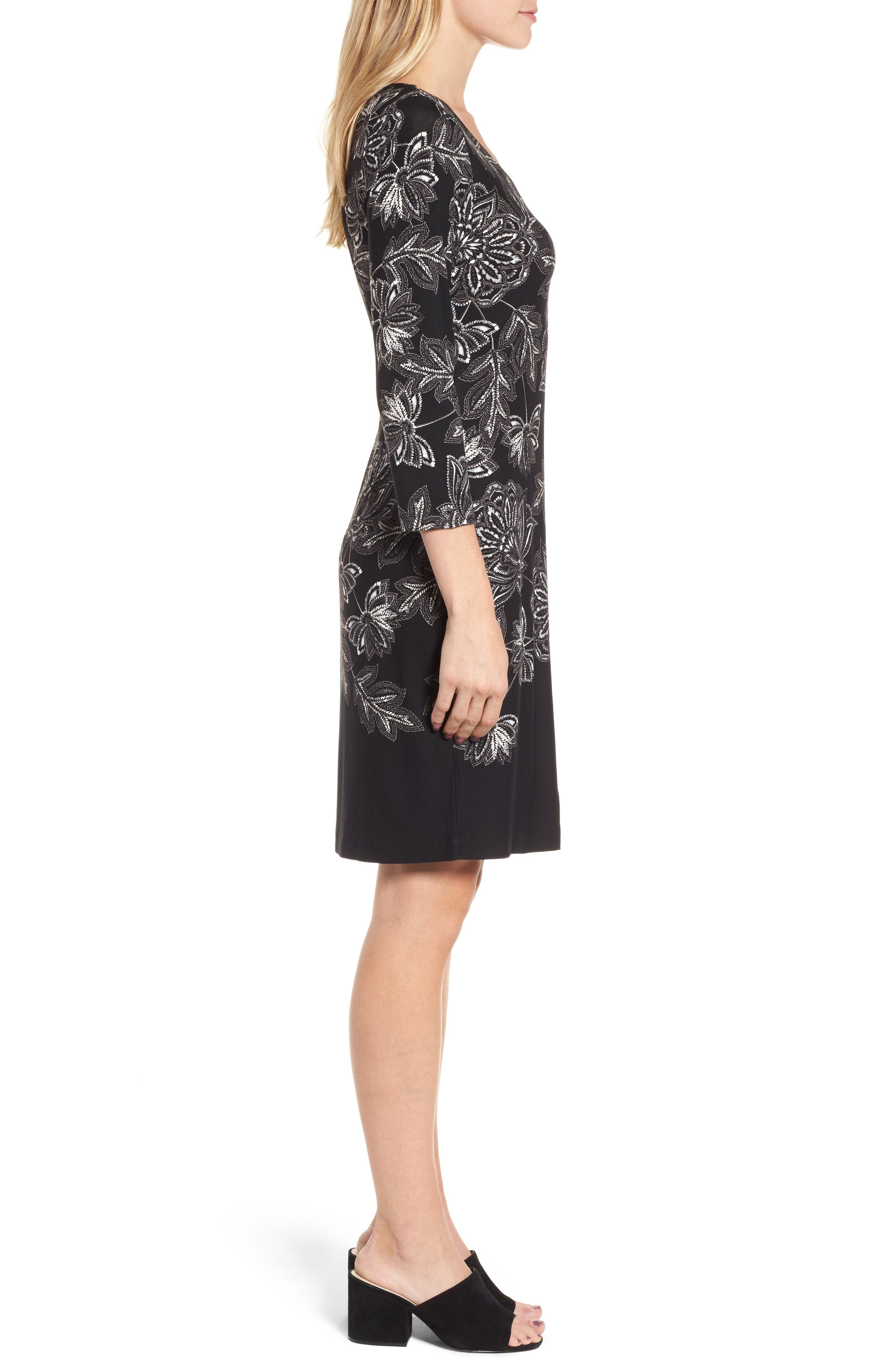 Filigree Floral Print Dress,                             Alternate thumbnail 3, color,                             001