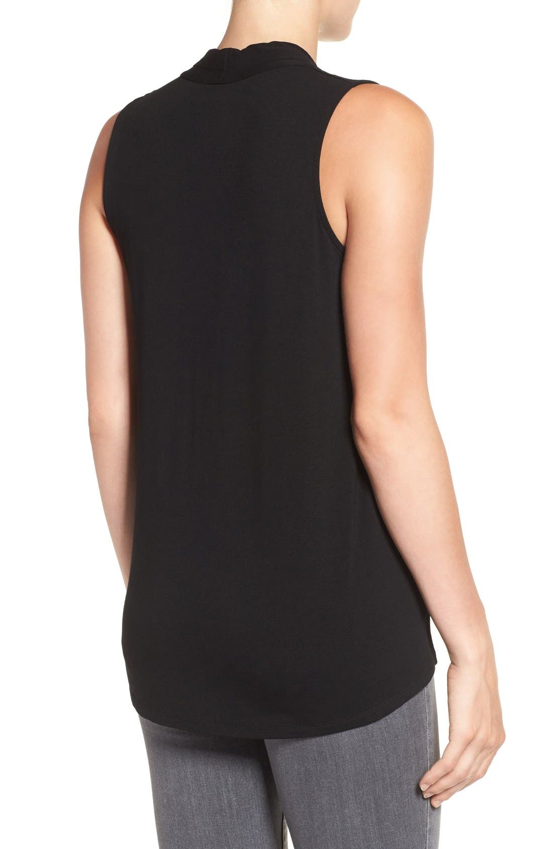 Sleeveless V-Neck Top,                             Alternate thumbnail 2, color,                             RICH BLACK