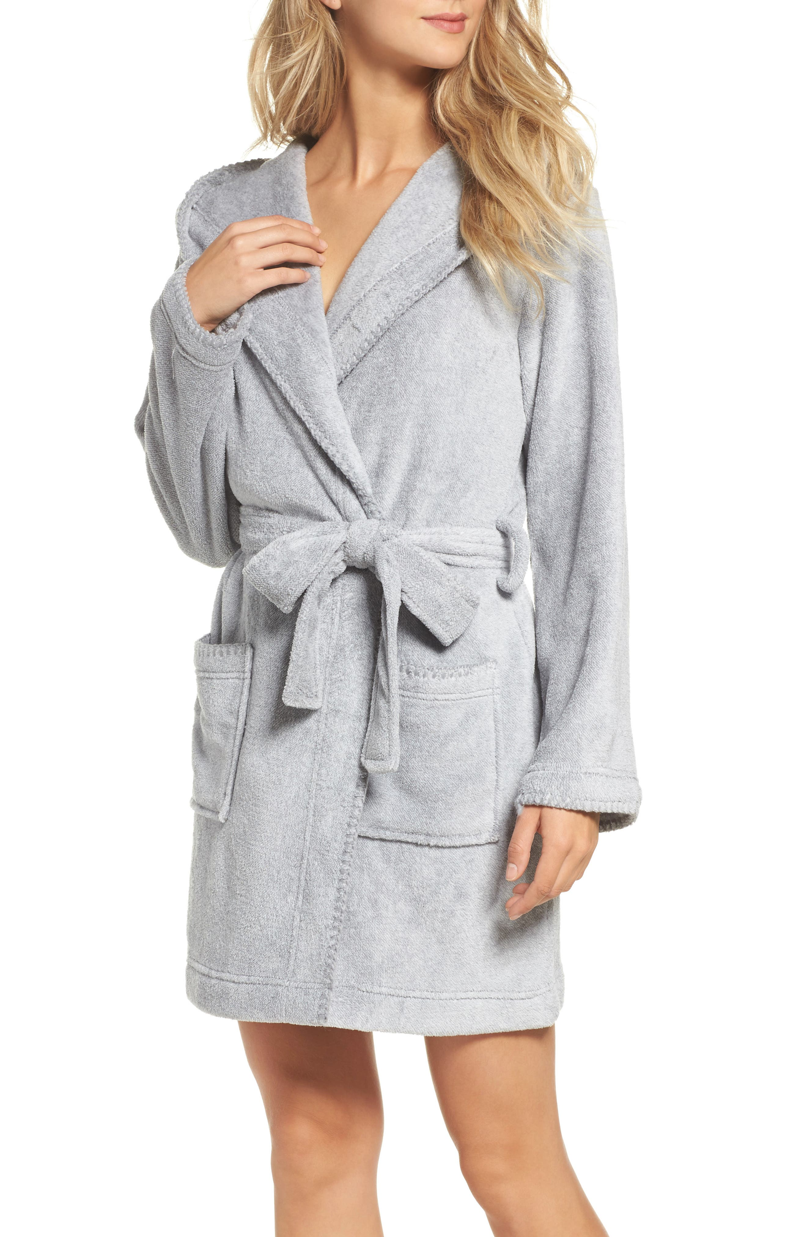 Starry Night Plush Short Robe,                         Main,                         color,