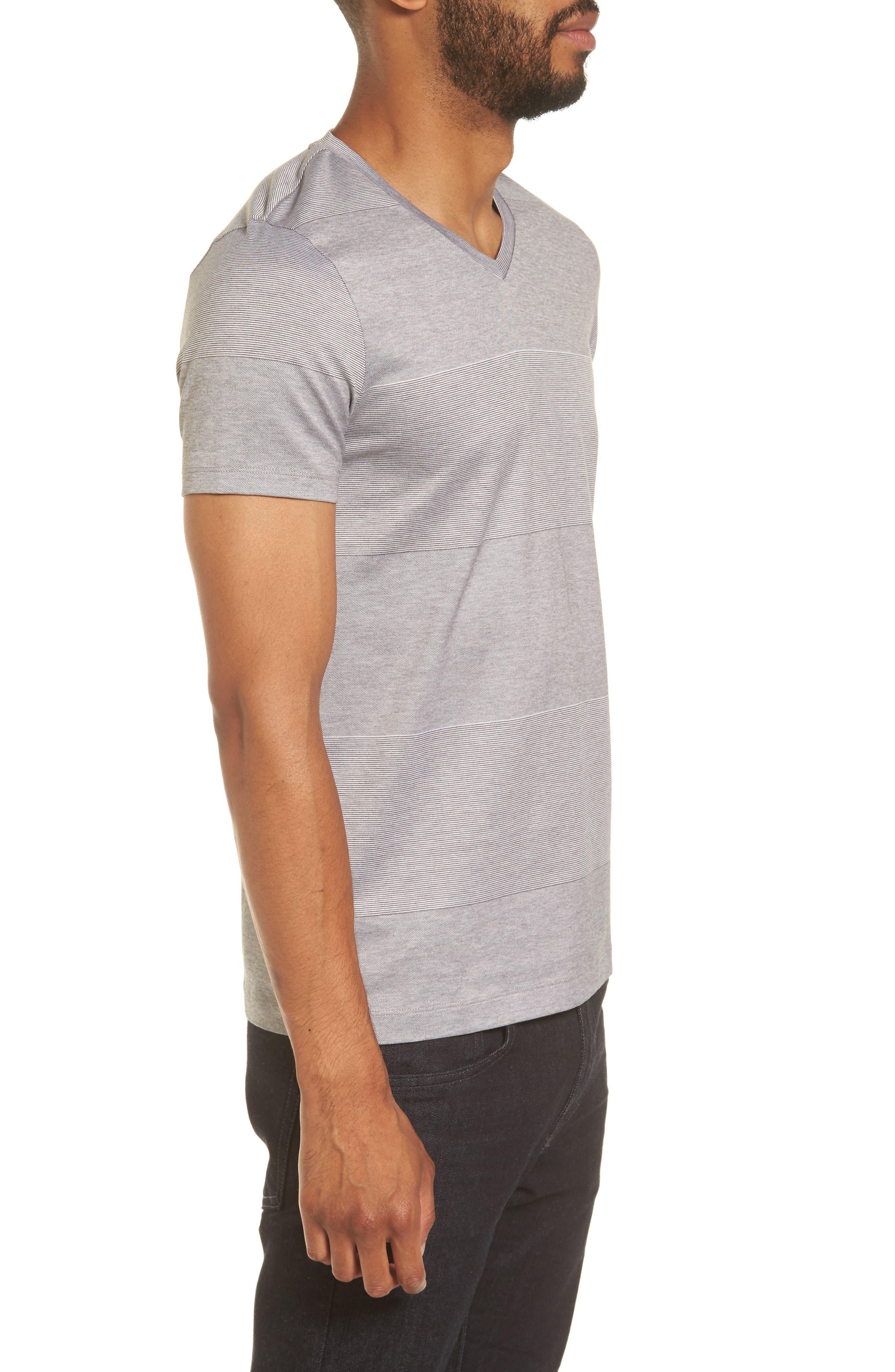 Slim Fit Stripe V-Neck T-Shirt,                             Alternate thumbnail 3, color,                             030