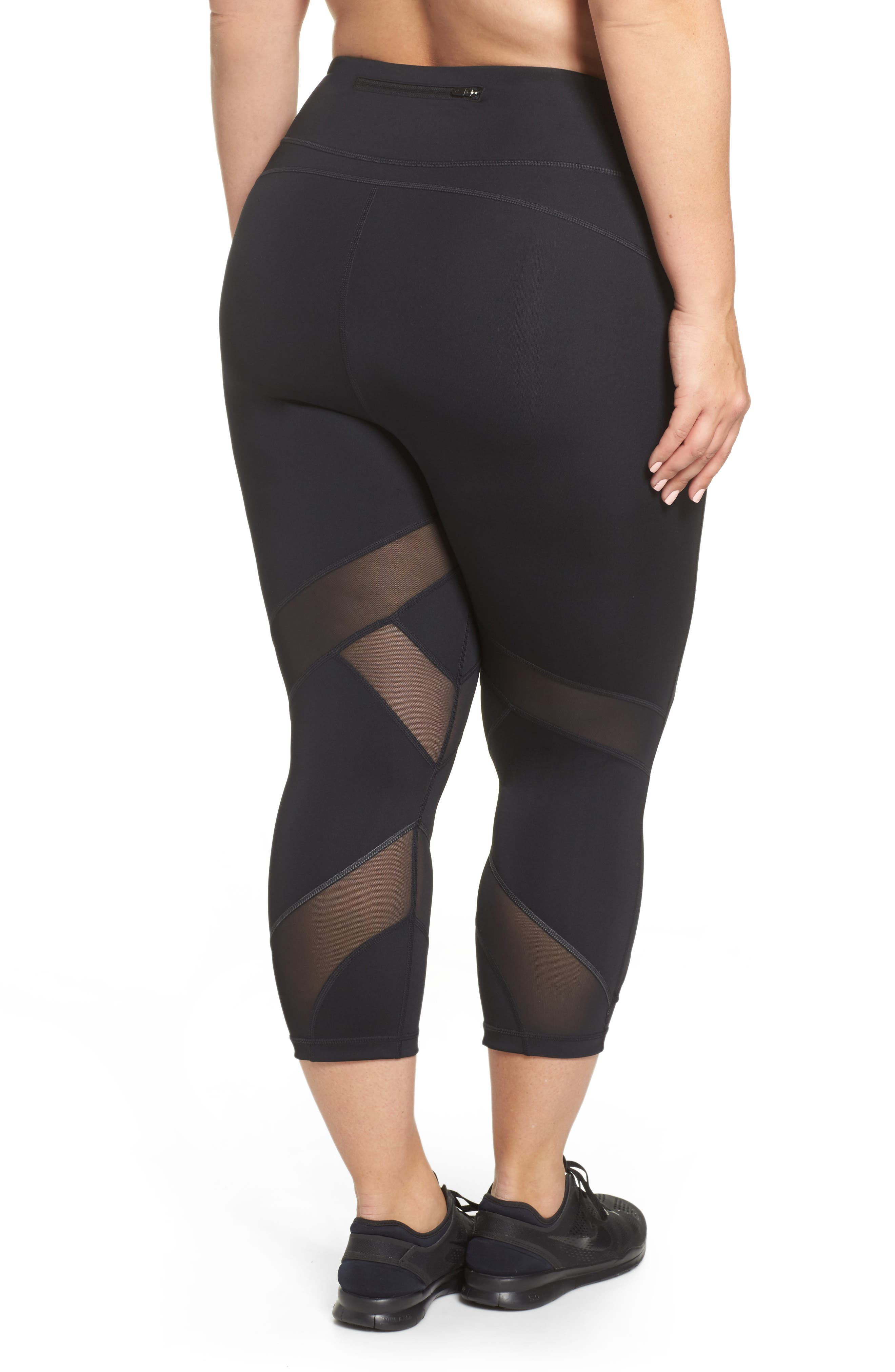 Swift II Crop Leggings,                             Alternate thumbnail 2, color,                             BLACK