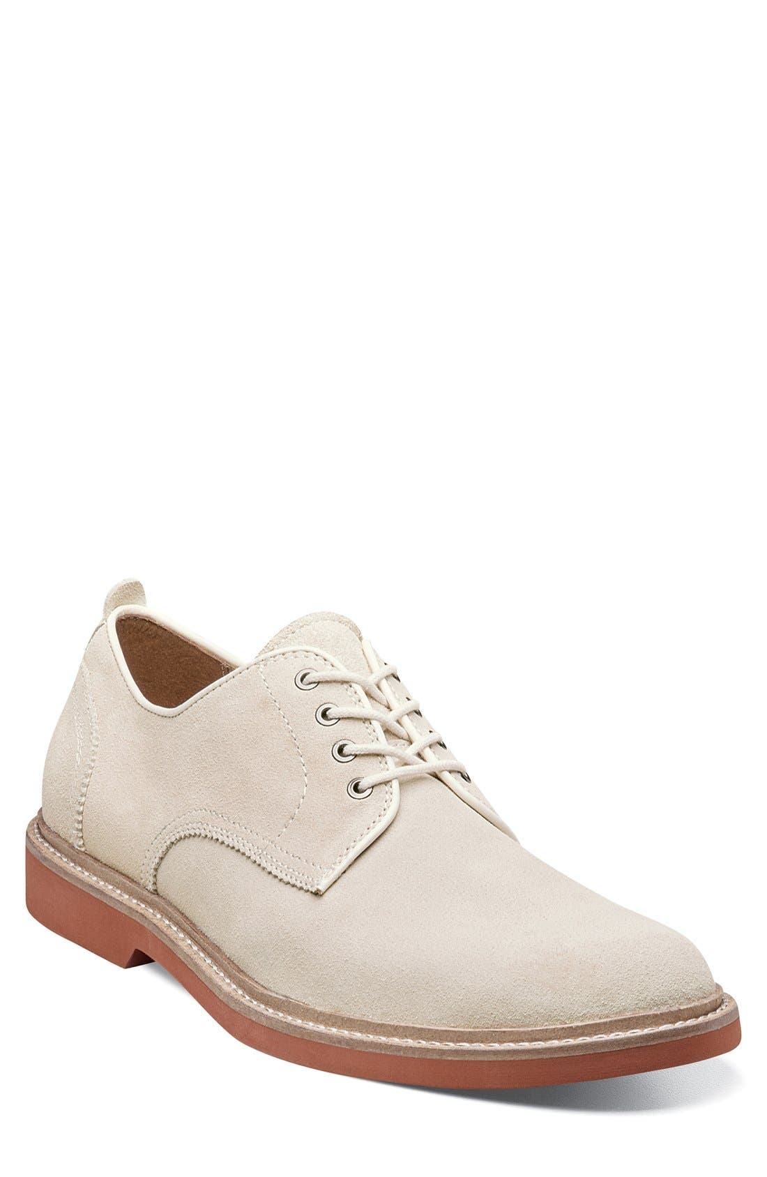 'Bucktown' Buck Shoe,                             Main thumbnail 1, color,                             WHITE SUEDE