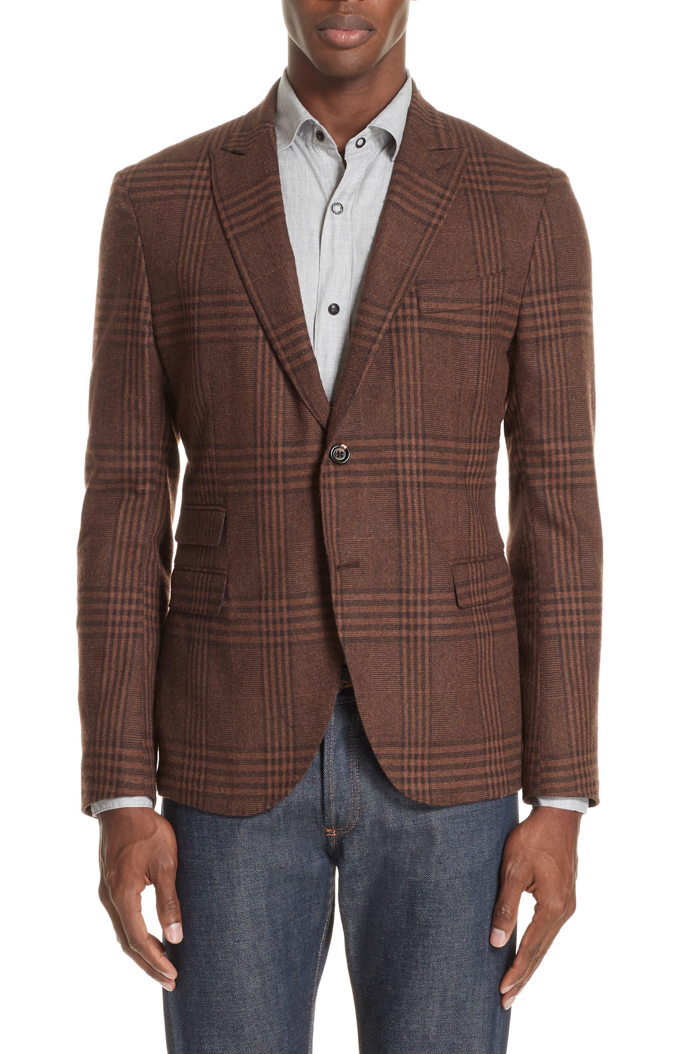 Men's Eleventy Trim Fit Plaid Stretch Wool Blend Sport Coat, Size 46 US / 56 EU R - Brown
