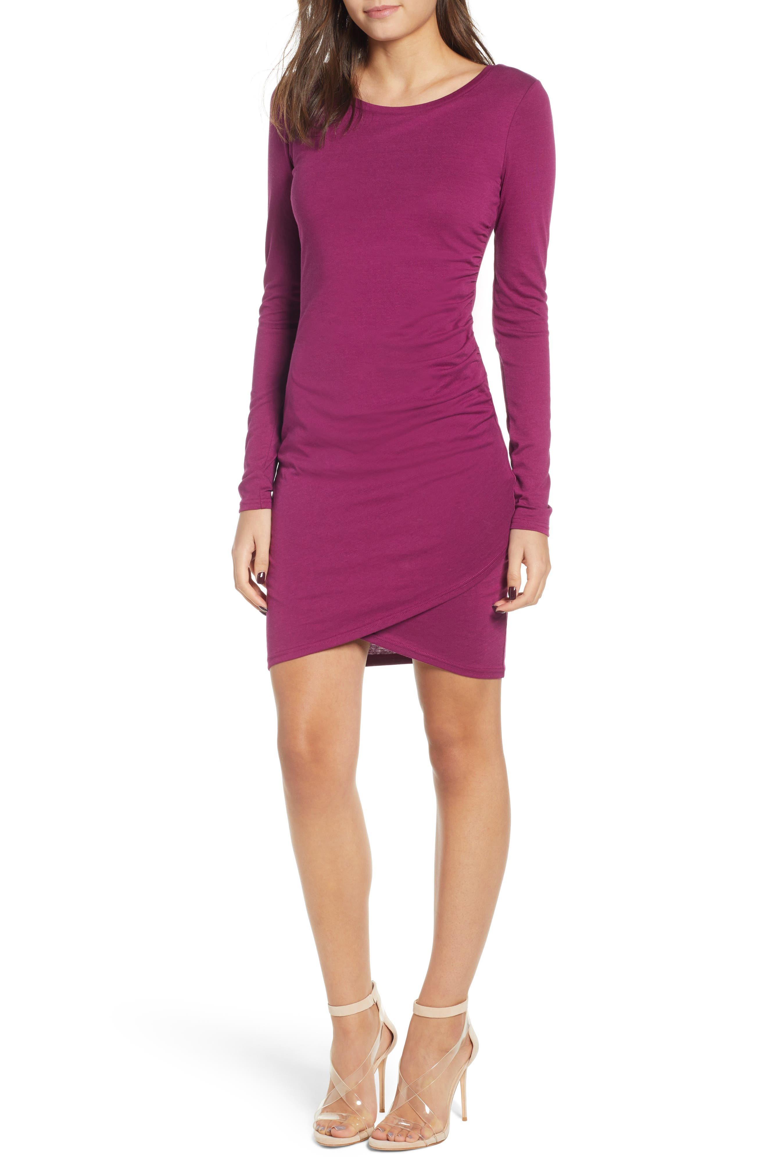 Ruched Long Sleeve Dress, Main, color, PURPLE MAGENTA