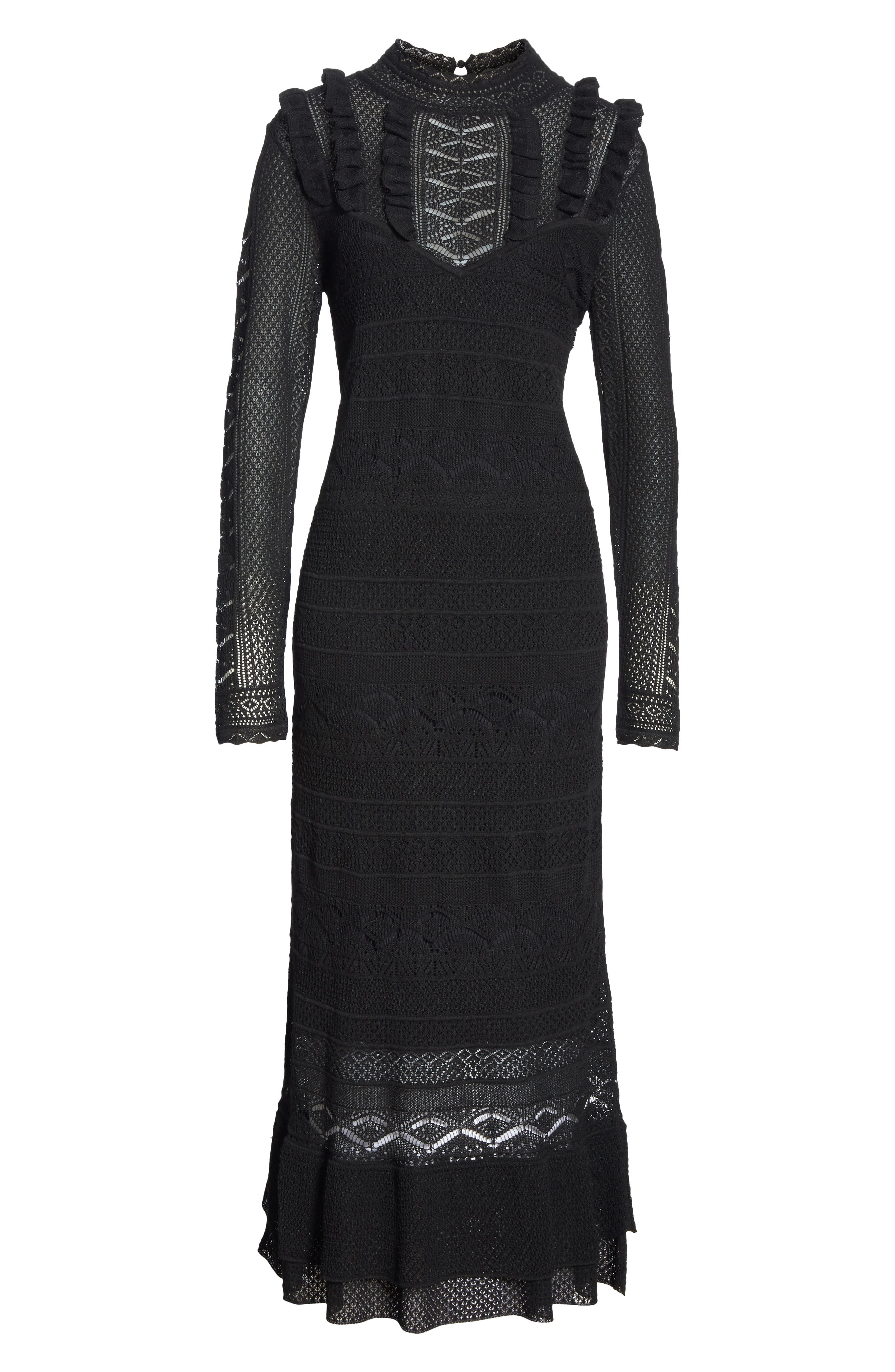 Pointelle Lace Midi Dress,                             Alternate thumbnail 6, color,                             001