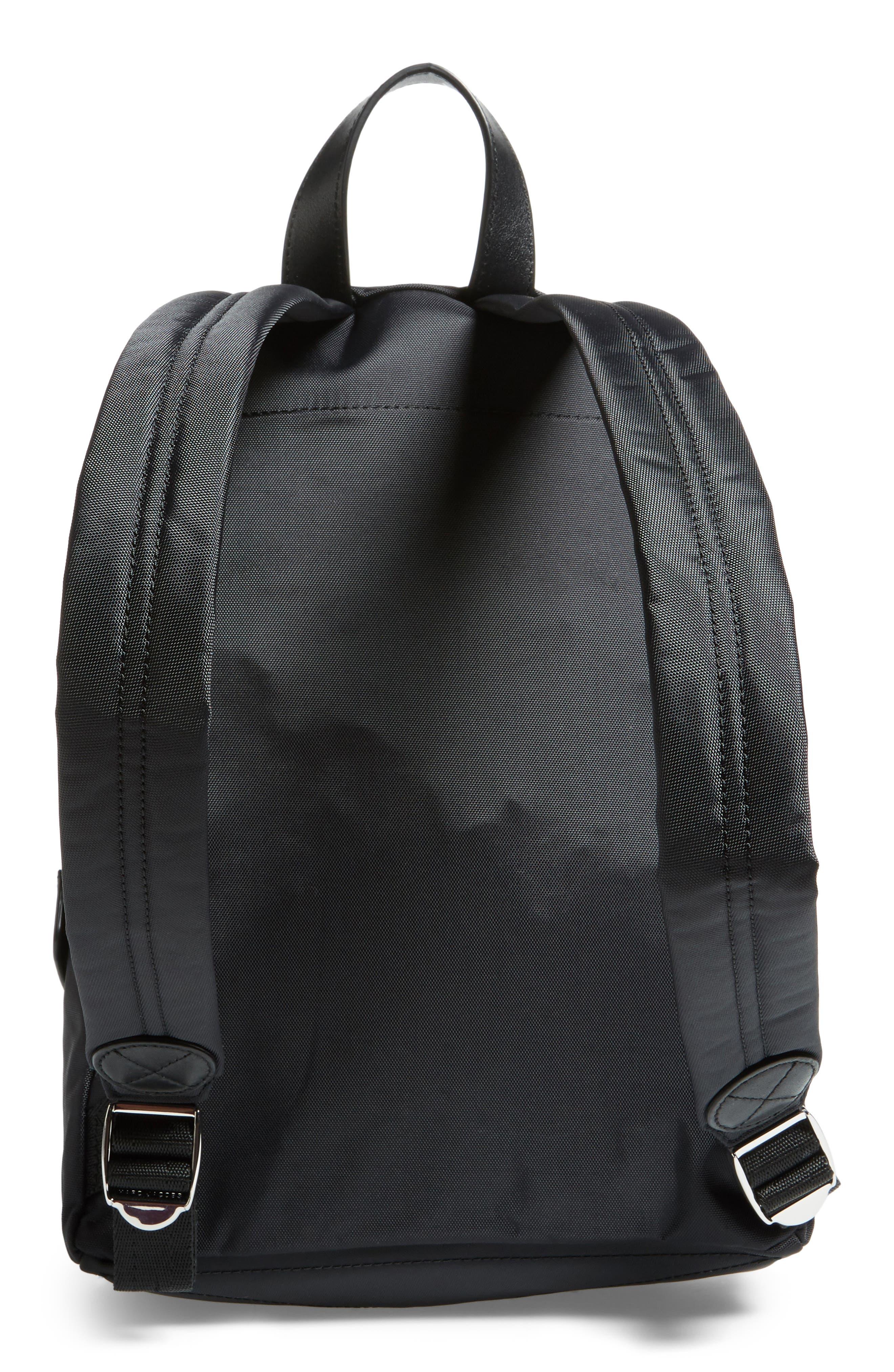 Mini Biker Nylon Backpack,                             Alternate thumbnail 3, color,                             BLACK