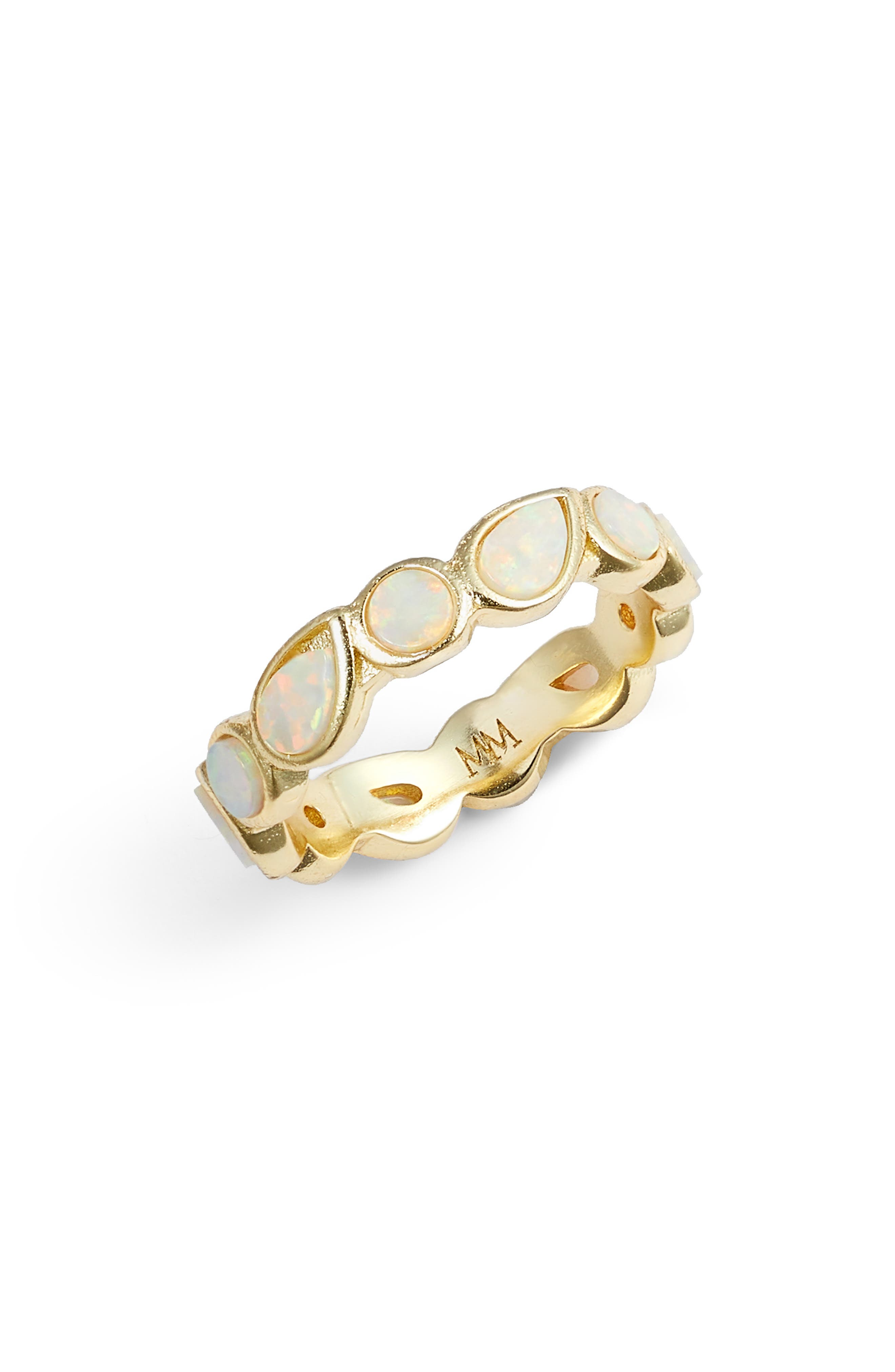 MELINDA MARIA Isla Stackable Band Ring in White Opal/ Gold