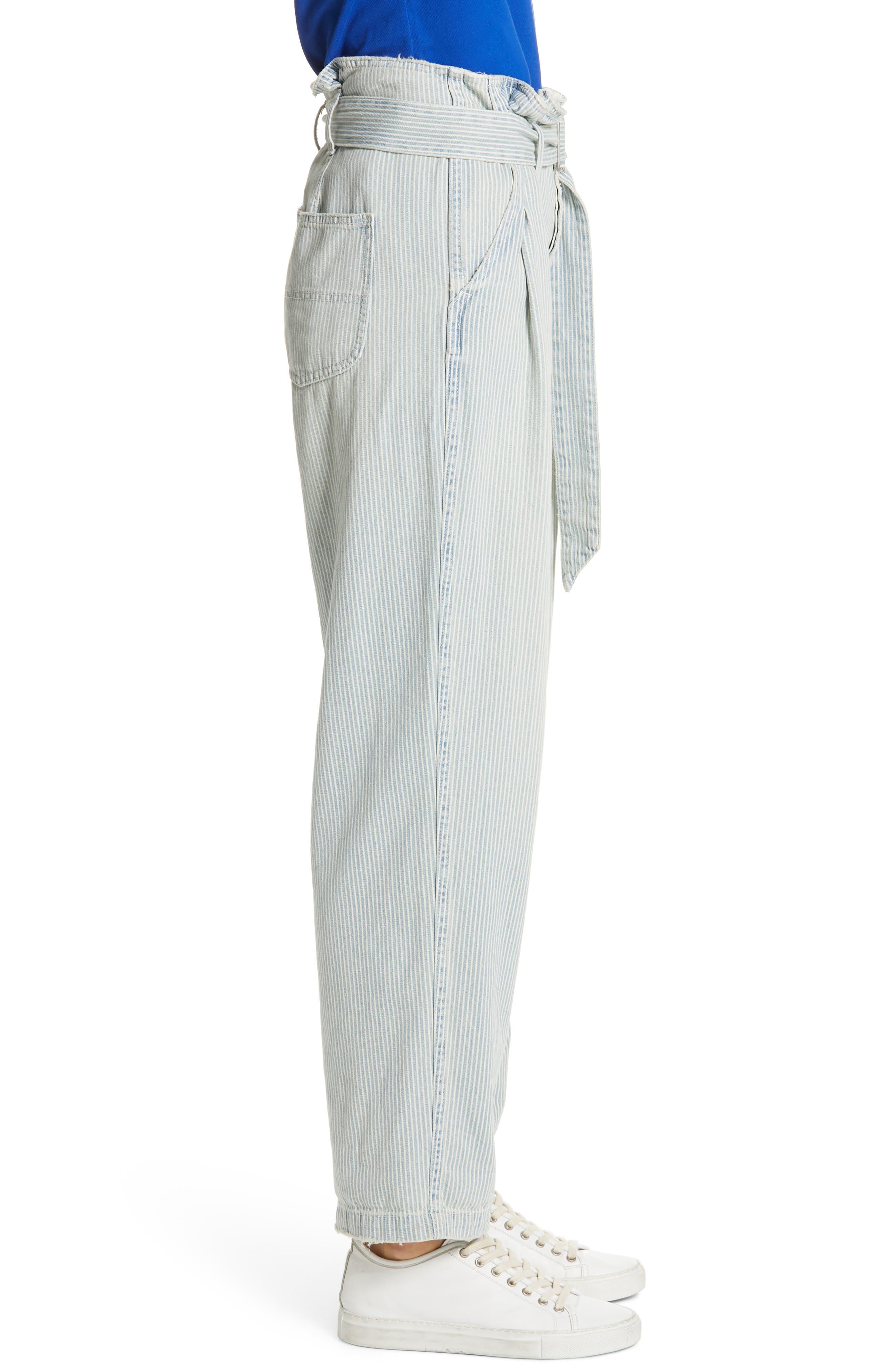Paperbag Waist Jeans,                             Alternate thumbnail 3, color,                             RAILROAD STRIPE