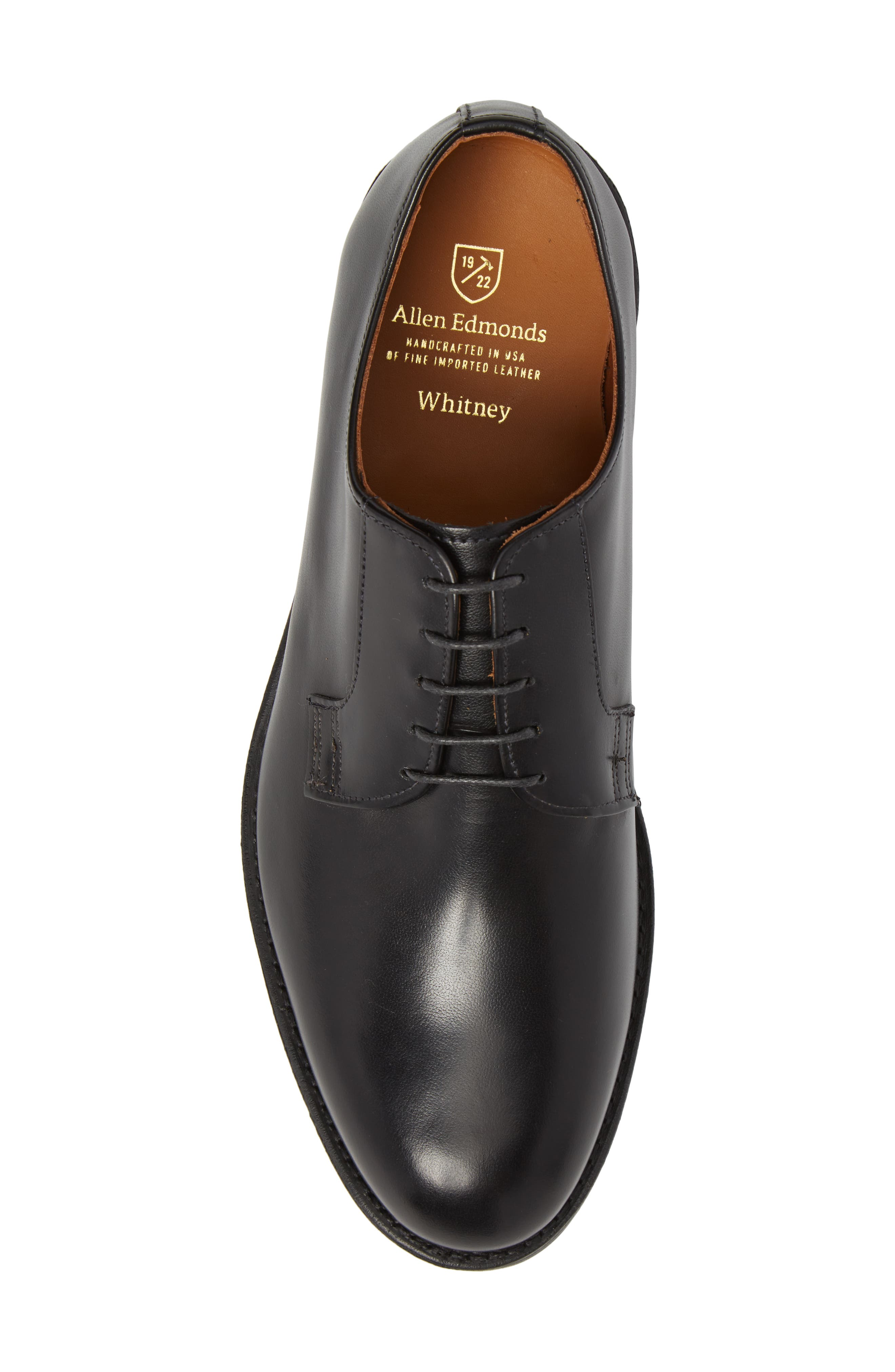 Whitney Plain Toe Derby,                             Alternate thumbnail 5, color,                             BLACK LEATHER
