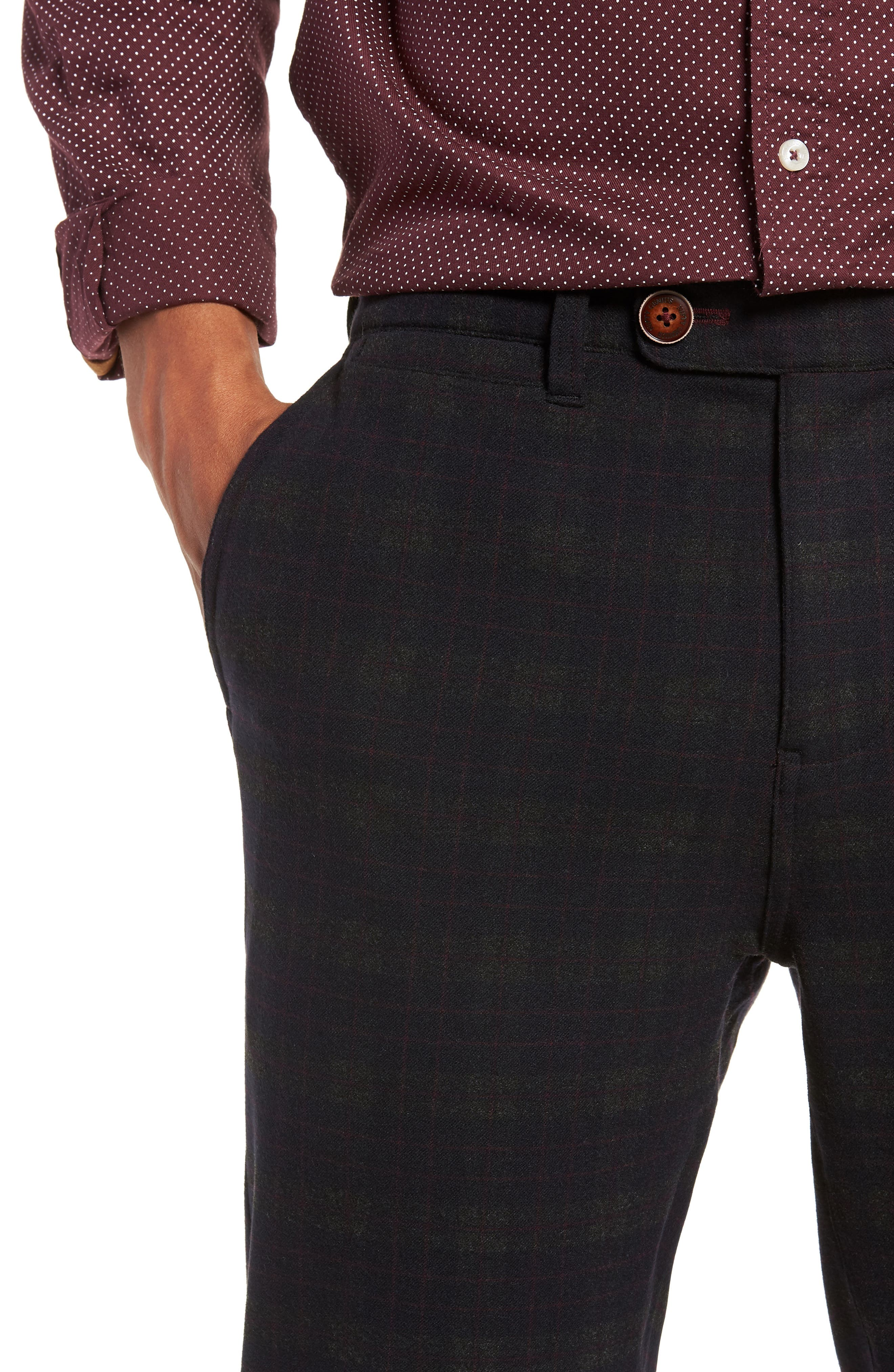 Thomas Straight Leg Chinos,                             Alternate thumbnail 4, color,                             MIDNIGHT/ RED/ CHARCOAL