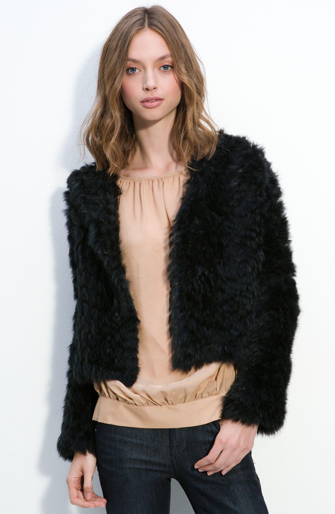'Nikki' Genuine Rabbit Fur Hooded Jacket,                             Main thumbnail 1, color,                             001