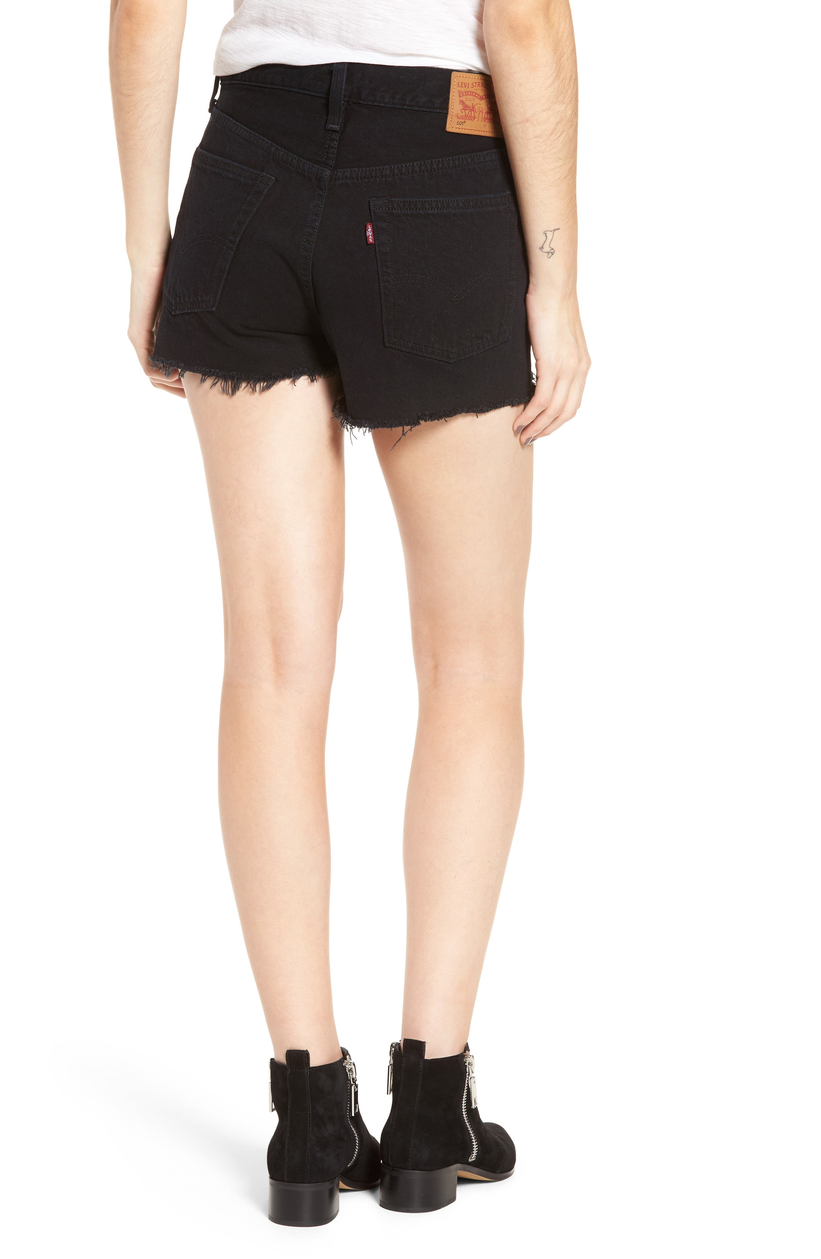 501<sup>®</sup> High Rise Denim Shorts,                             Alternate thumbnail 2, color,                             001