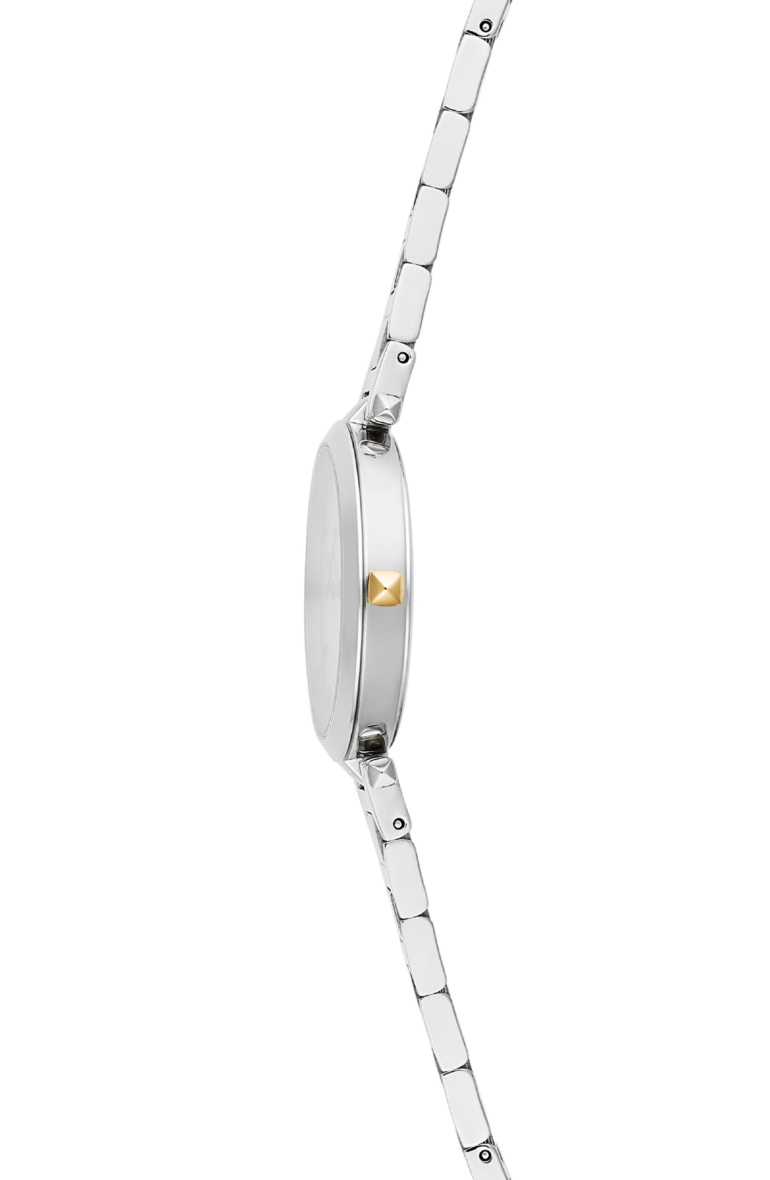 T-Bar Bracelet Strap Watch, 33mm,                             Alternate thumbnail 3, color,                             SILVER
