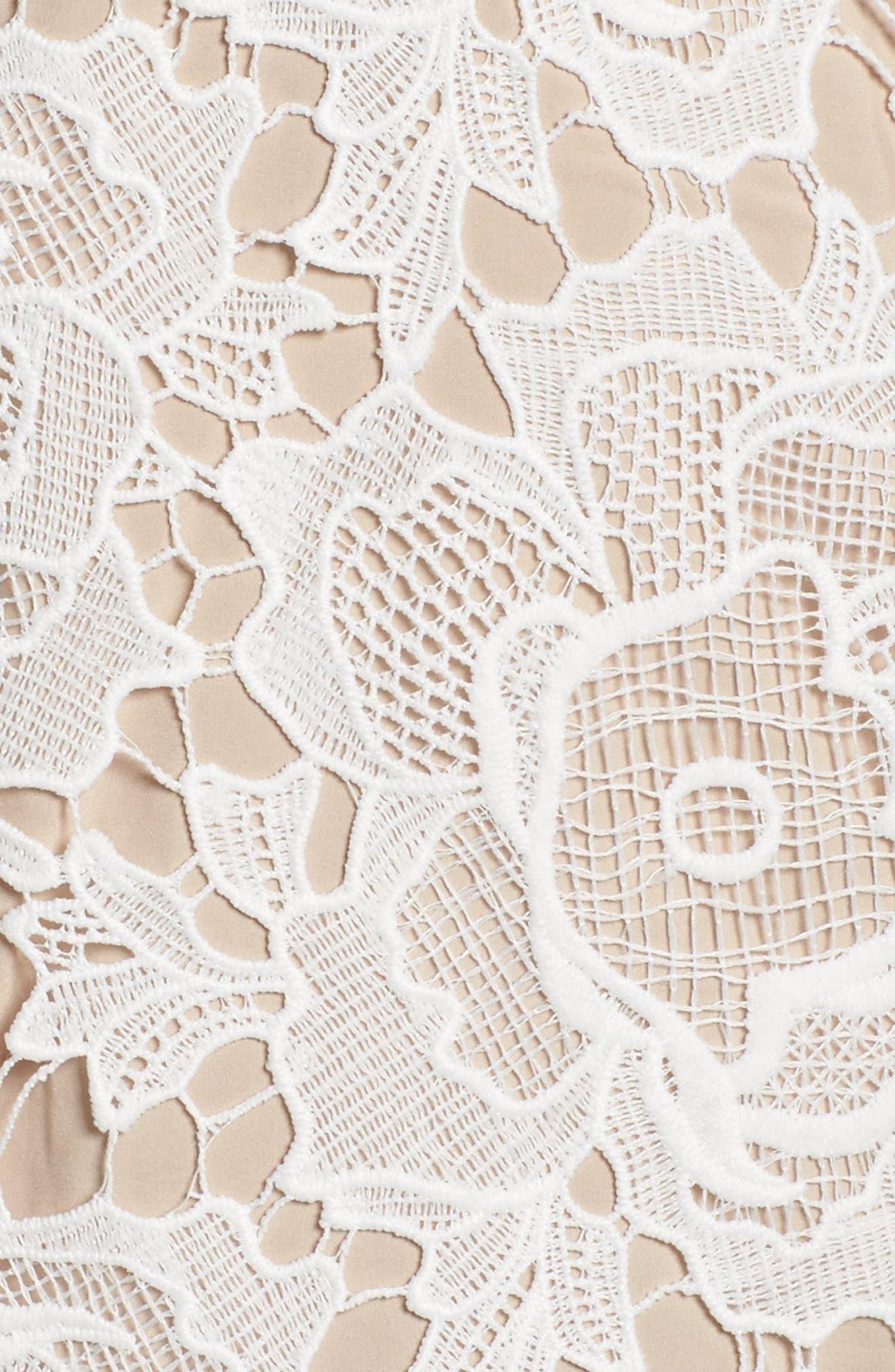 Alessandra Lace Choker Midi Dress,                             Alternate thumbnail 5, color,                             100