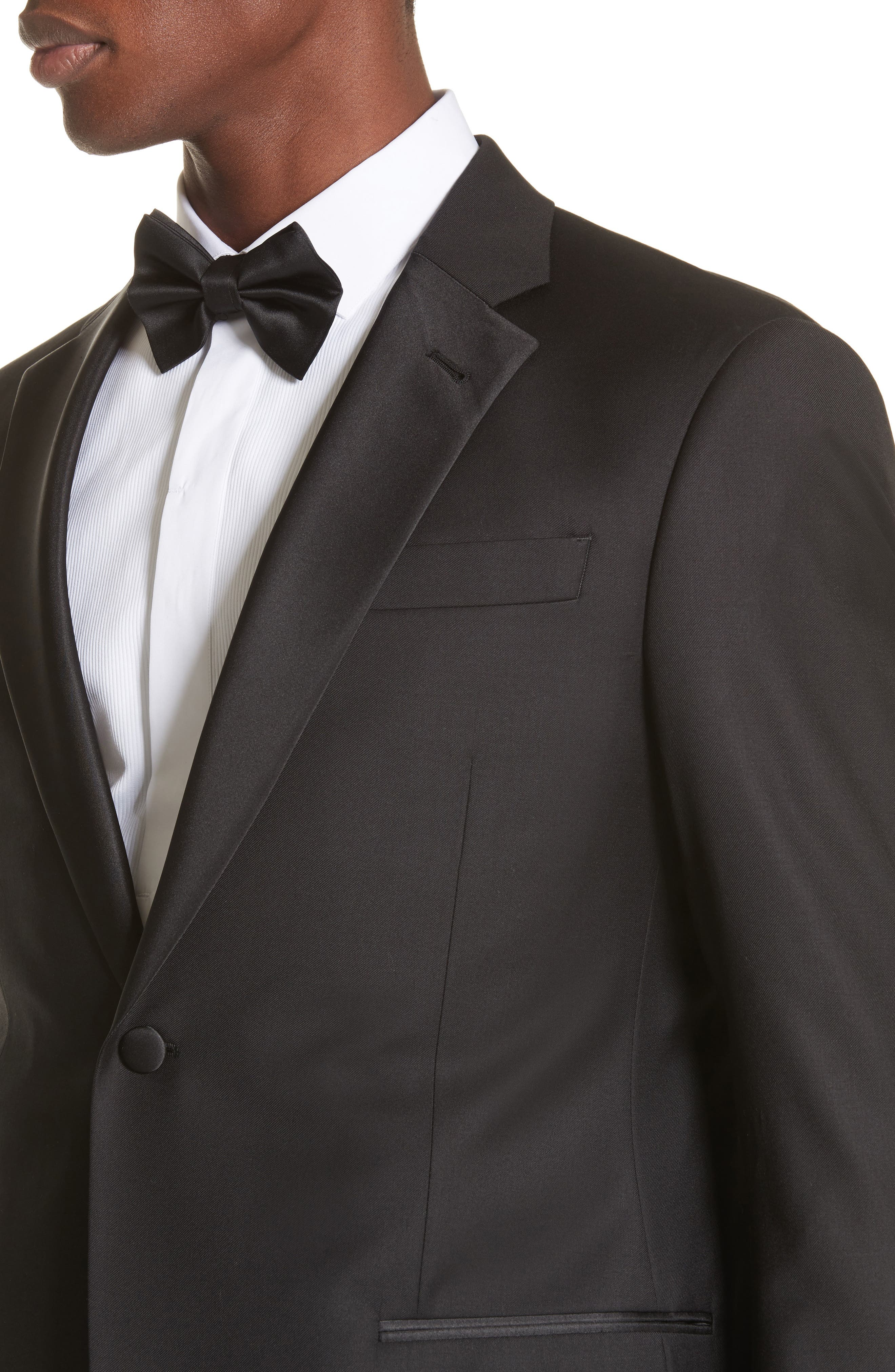 Trim Fit Wool Tuxedo,                             Alternate thumbnail 4, color,                             BLACK