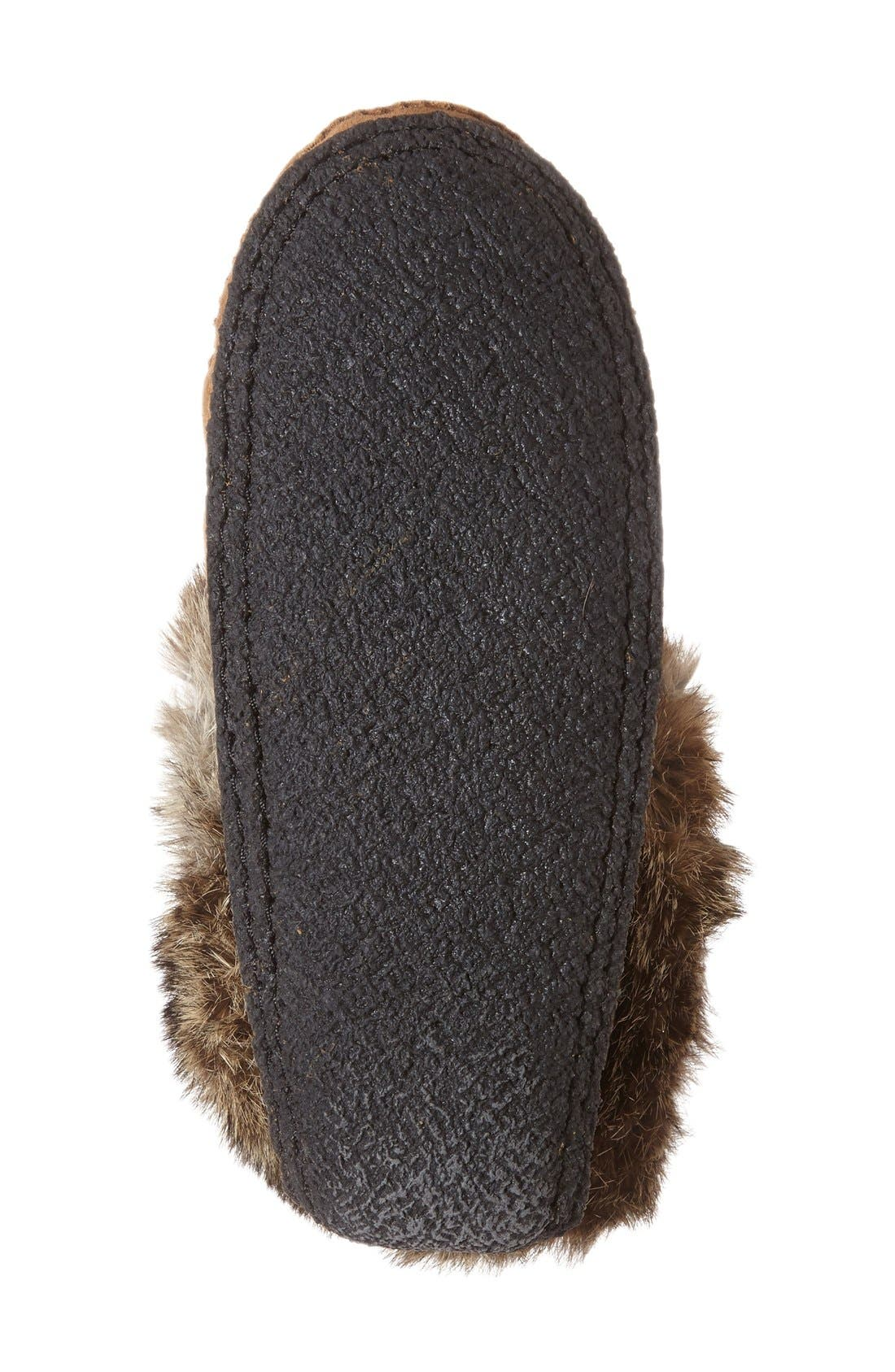 Genuine Shearling and Rabbit Fur Mukluk Slipper,                             Alternate thumbnail 3, color,                             OAK RABBIT FUR SUEDE