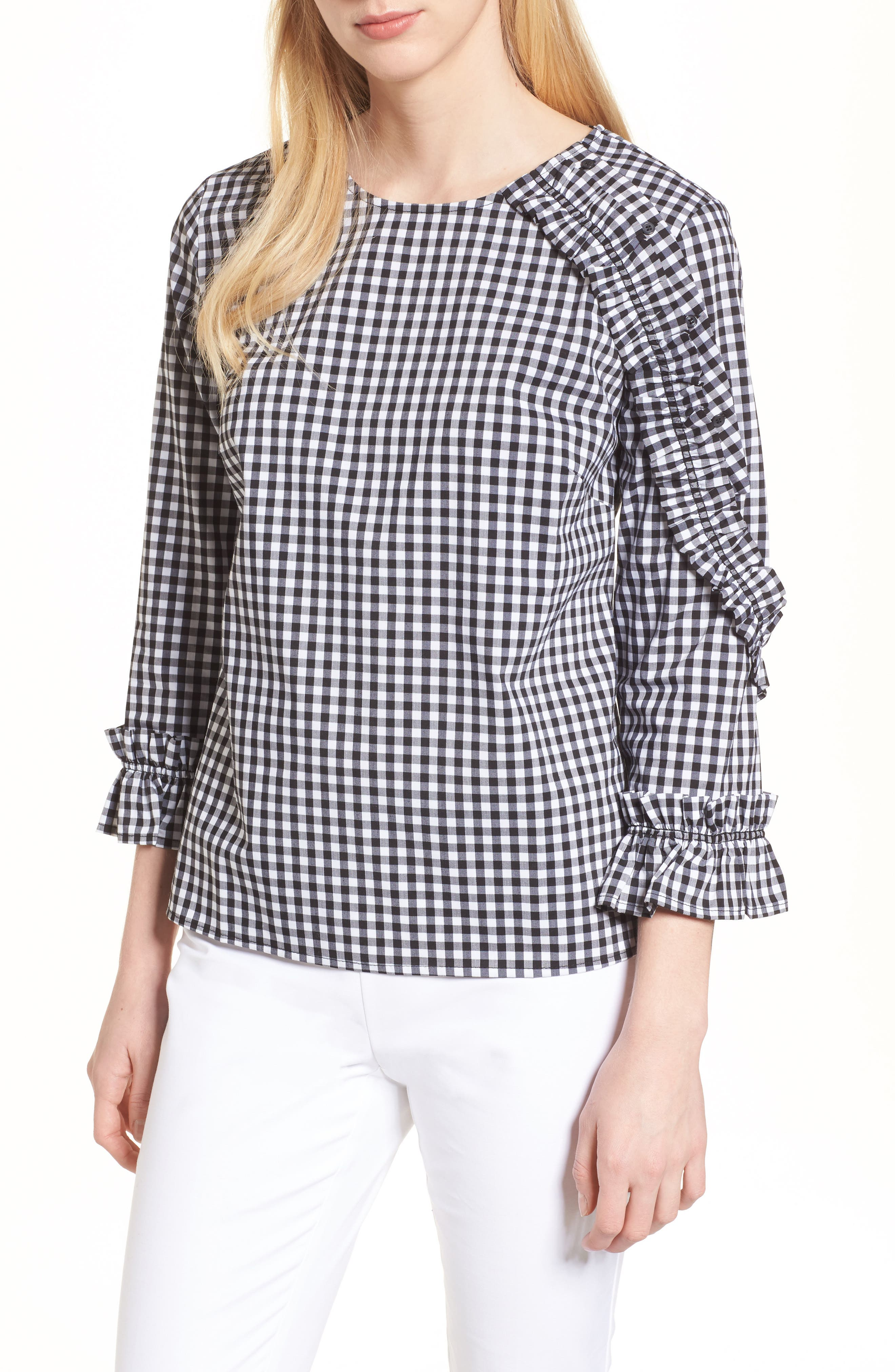 Ruffle Detail Poplin Shirt,                             Main thumbnail 1, color,                             001