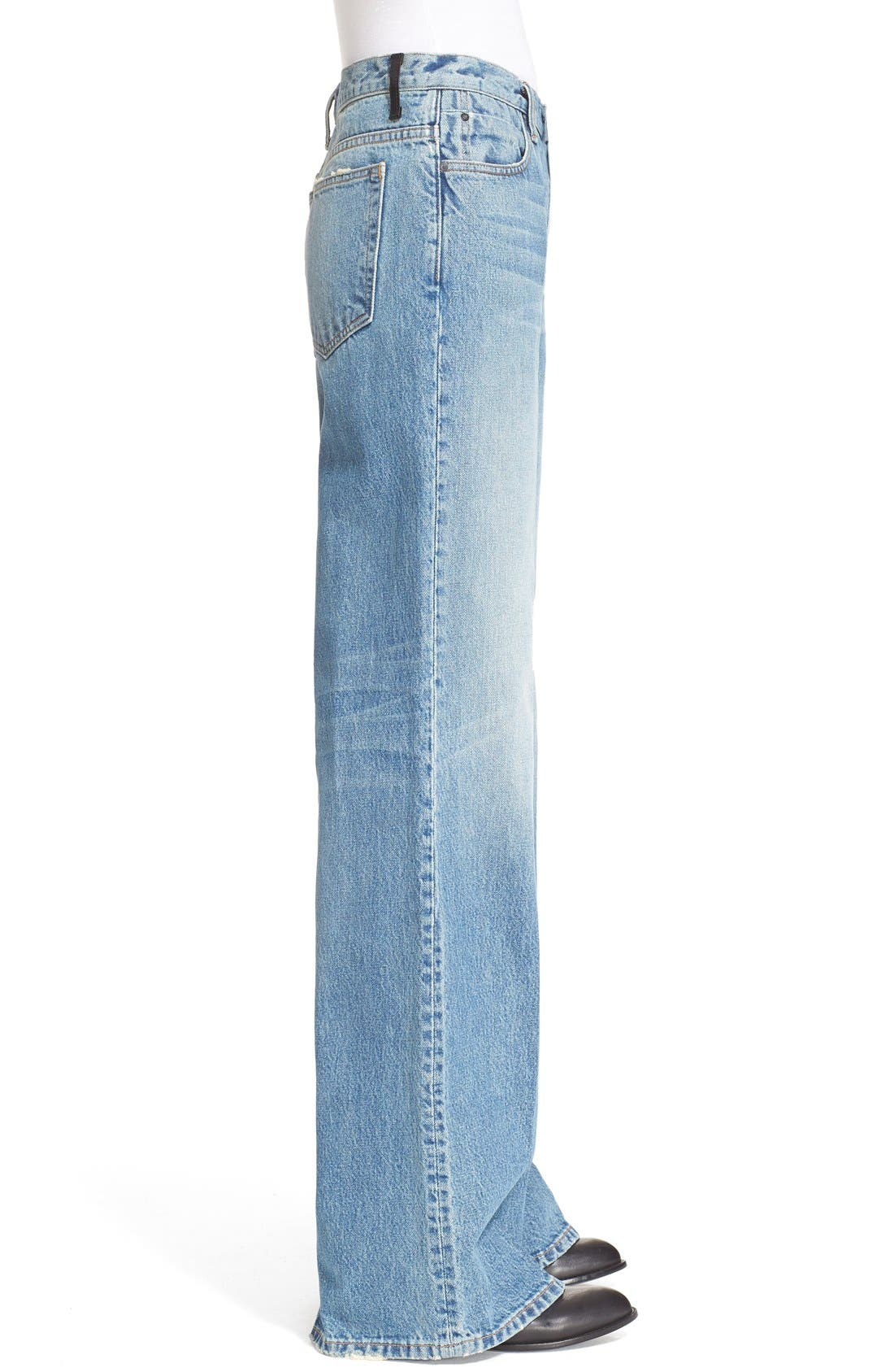 Denim x Alexander Wang Rave Wide Leg Jeans,                             Alternate thumbnail 4, color,                             453